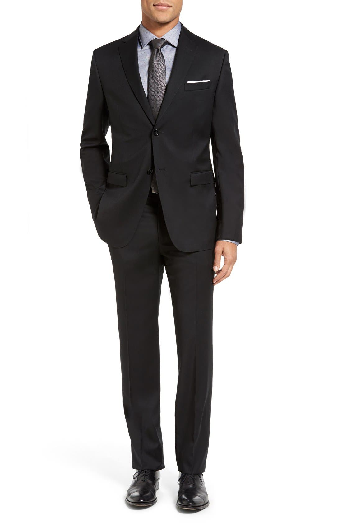 Drop 7 Trim Fit Wool Suit,                         Main,                         color, 001