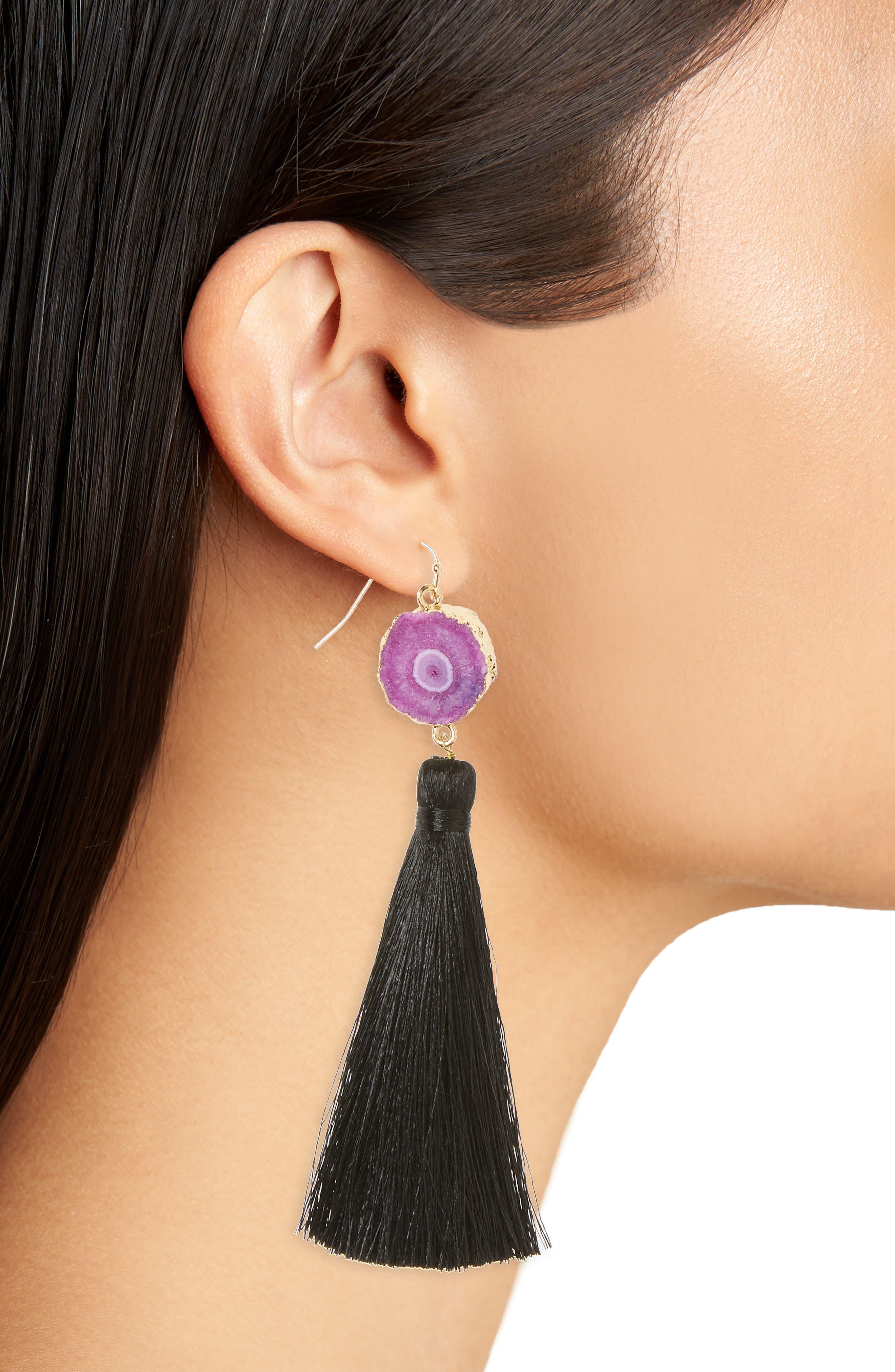 Drusy Tassel Drop Earrings,                             Alternate thumbnail 2, color,                             001