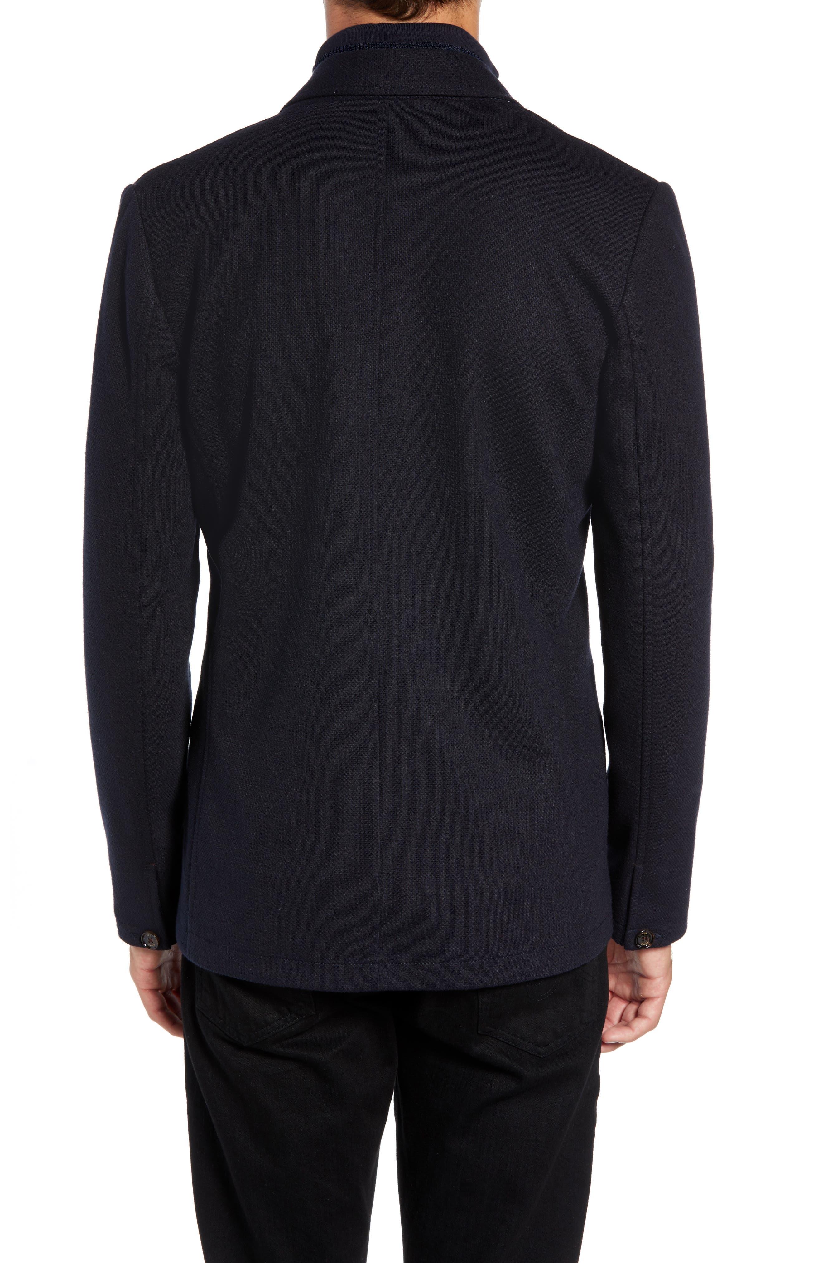 Almond Slim Fit Jersey Blazer,                             Alternate thumbnail 2, color,                             NAVY