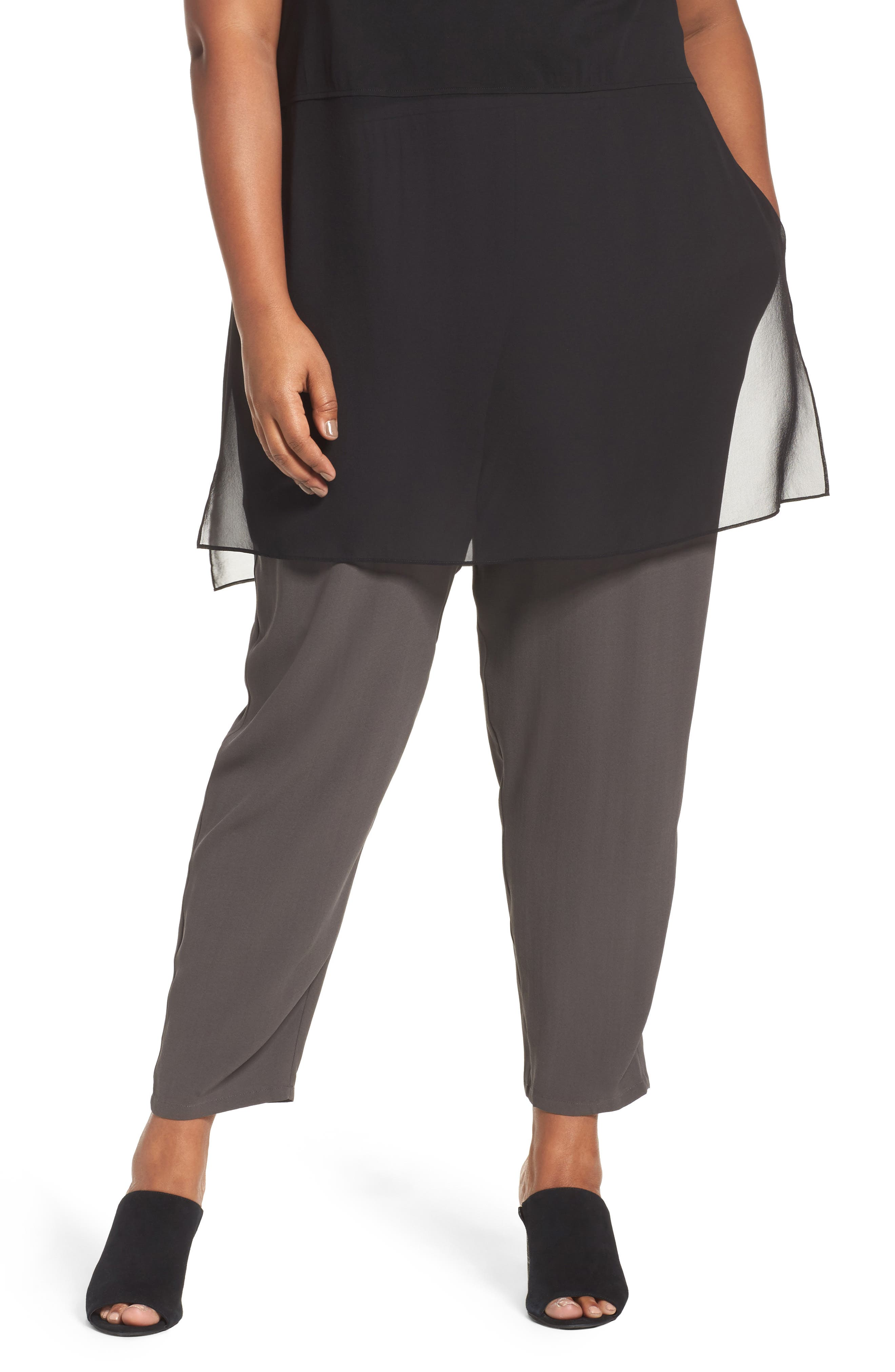 Silk Georgette Crepe Ankle Pants,                             Main thumbnail 1, color,                             021