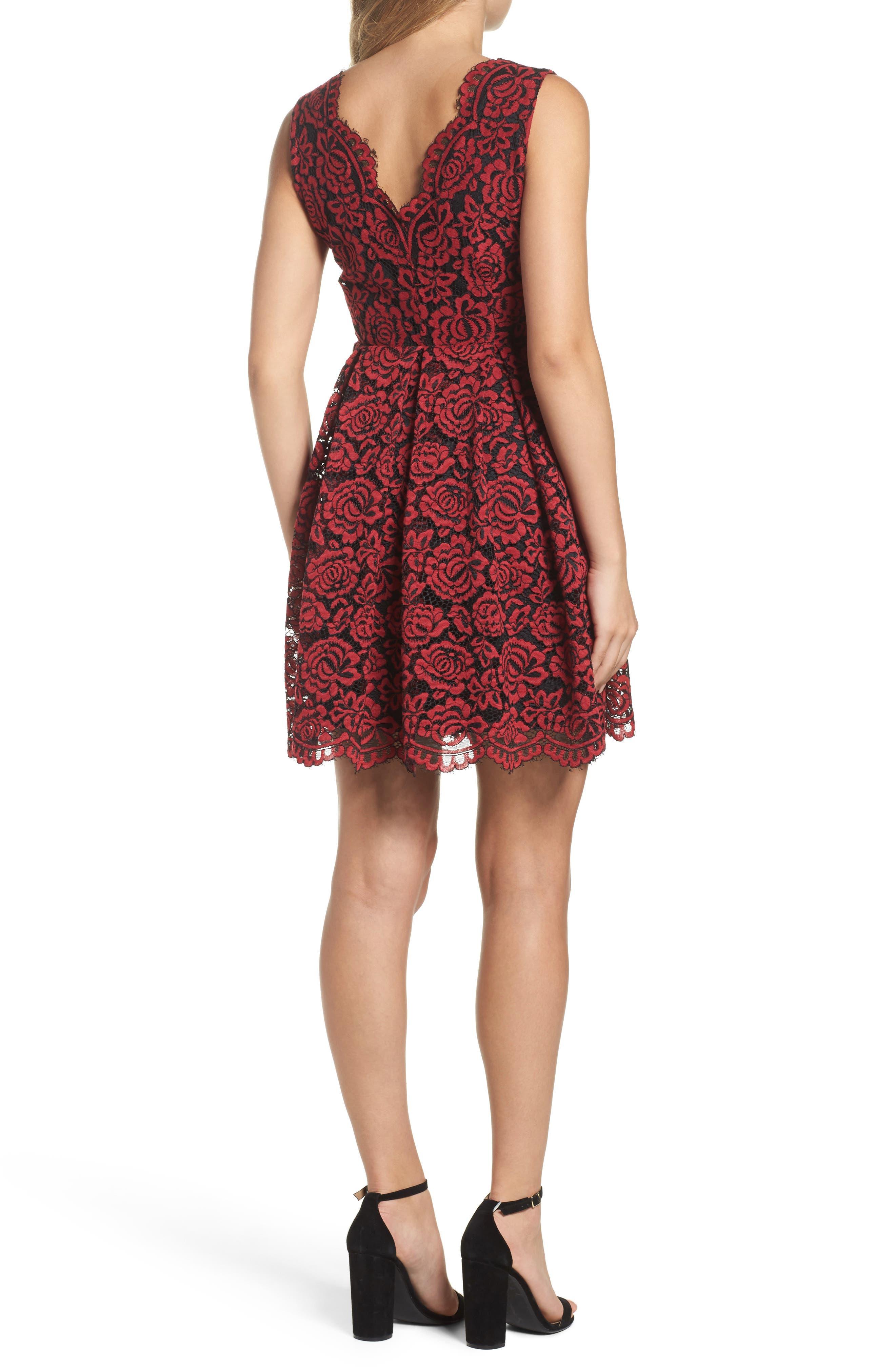 Lace Fit & Flare Dress,                             Alternate thumbnail 4, color,