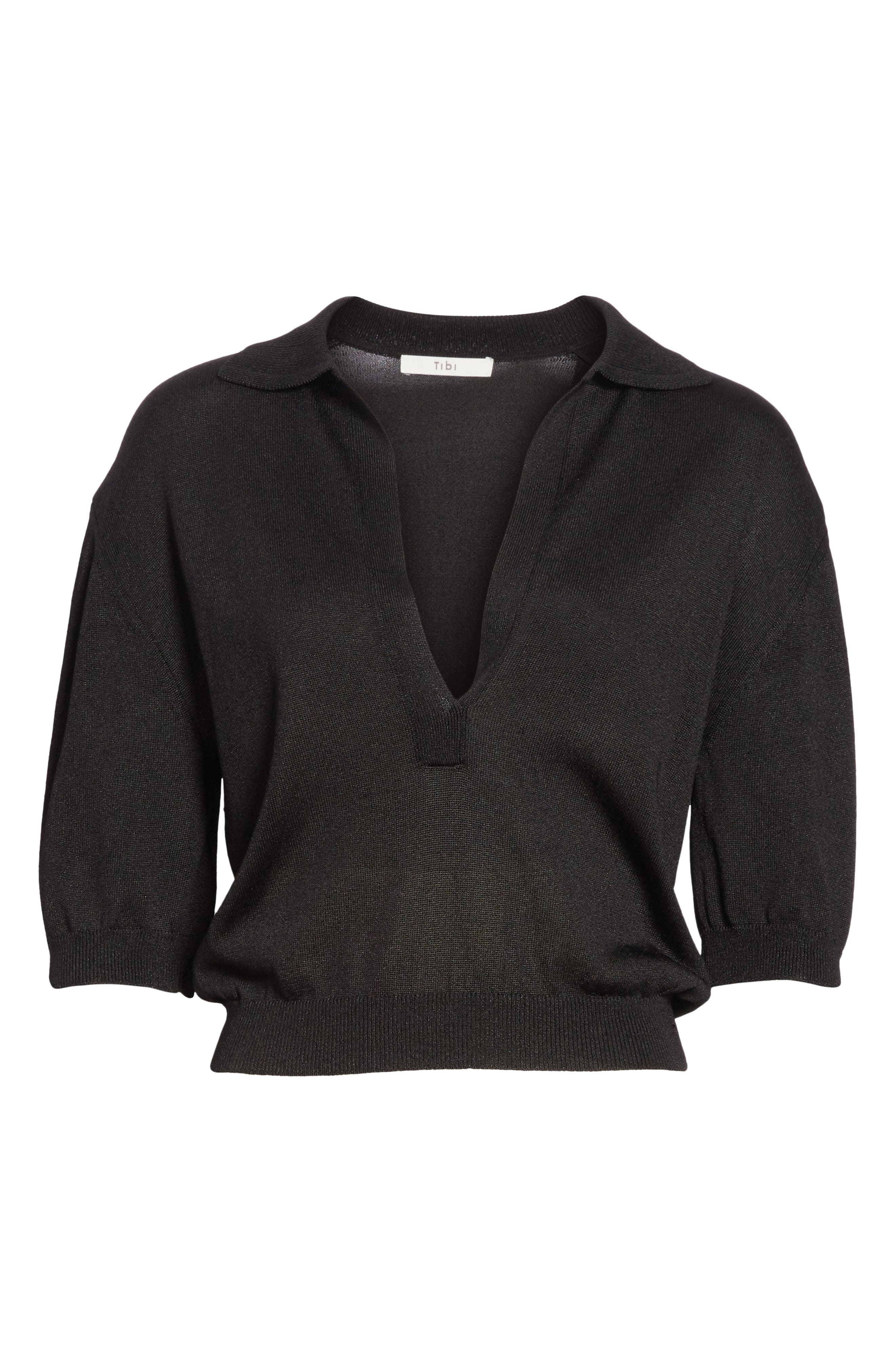 Crop Knit Pullover,                             Alternate thumbnail 6, color,                             001