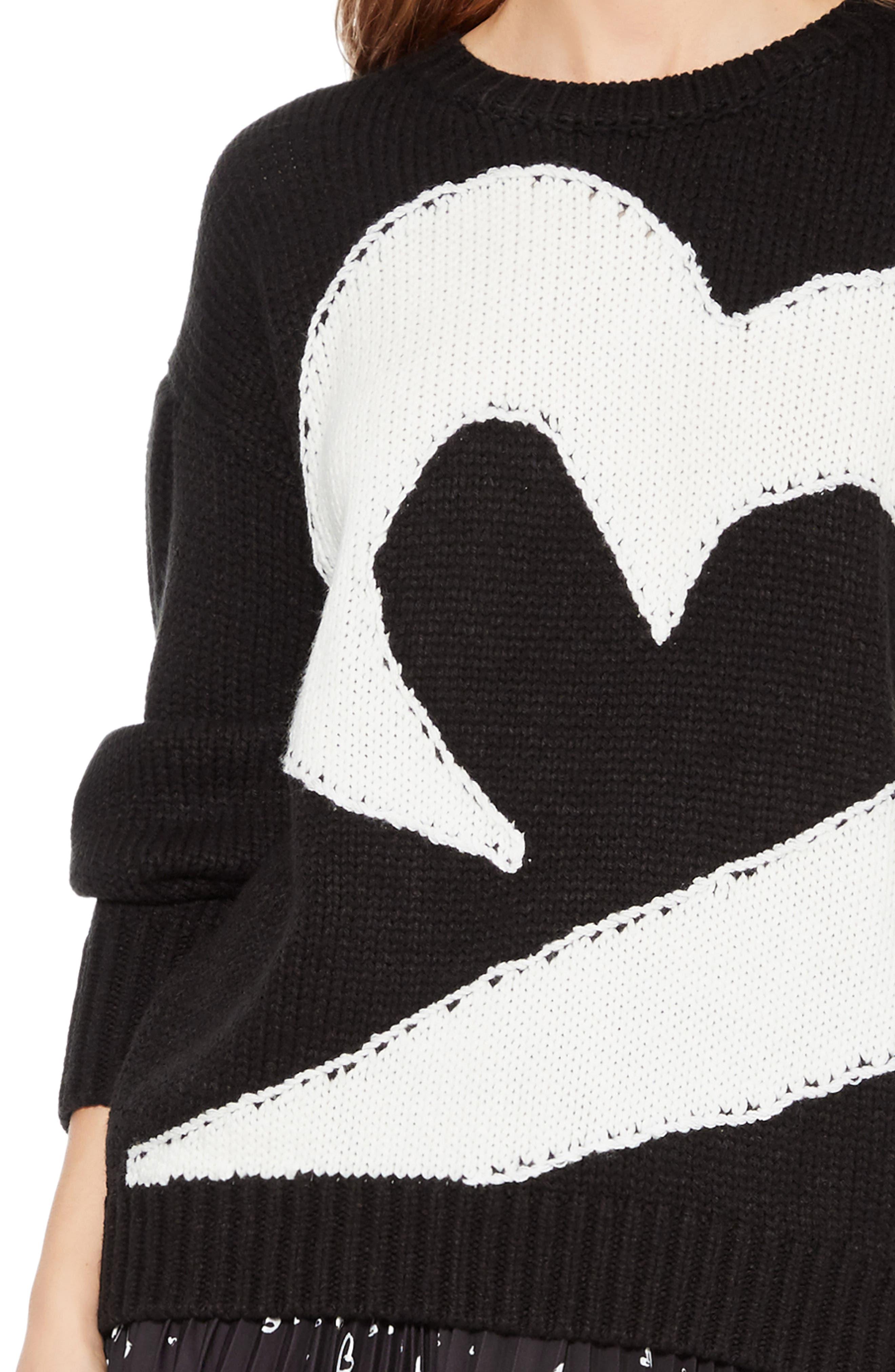 Olive Sweater,                             Alternate thumbnail 4, color,                             BLACK IVORY