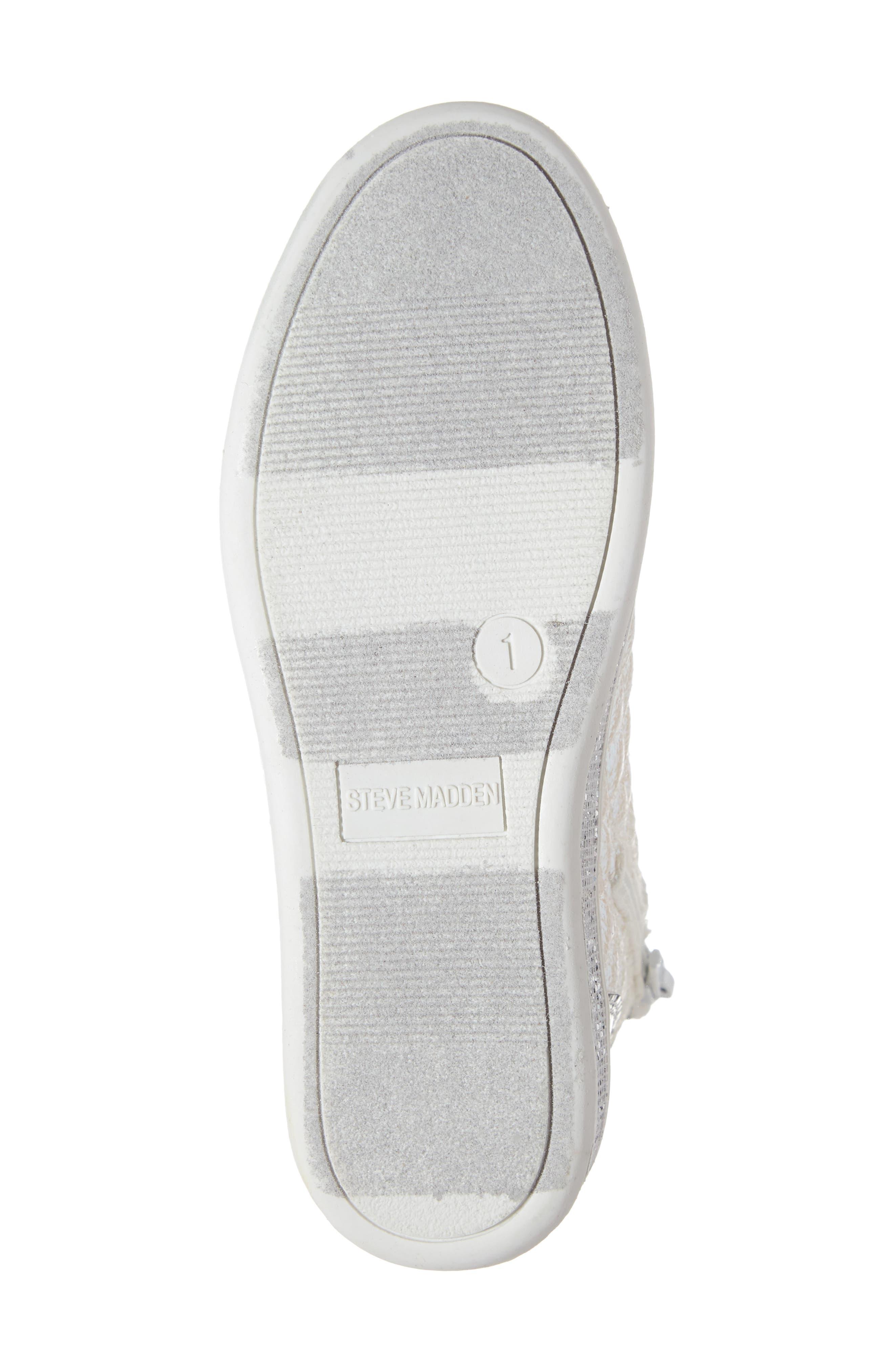 Glittery High Top Sneaker,                             Alternate thumbnail 6, color,                             WHITE