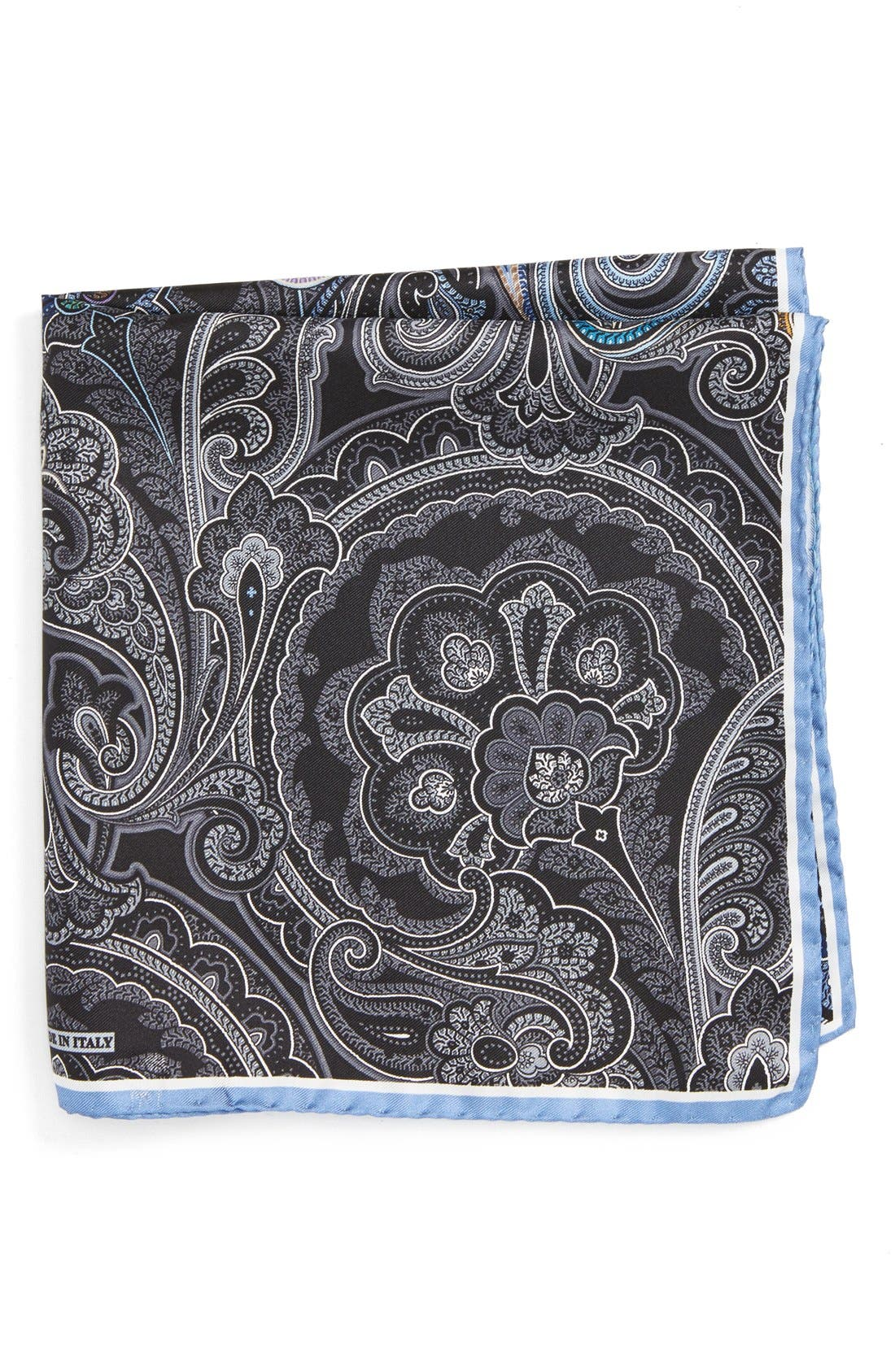 Paisley Silk Pocket Square,                         Main,                         color, BLACK