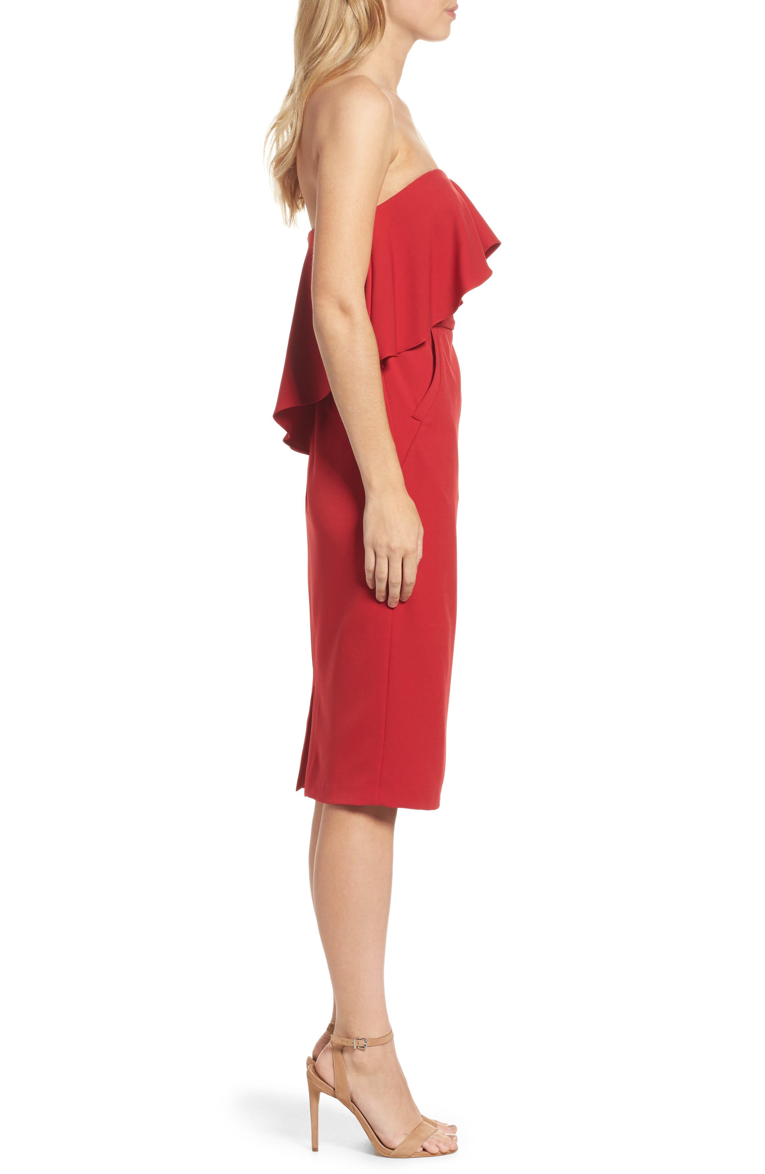 Ruffle Stretch Crepe Sheath Dress,                             Alternate thumbnail 16, color,