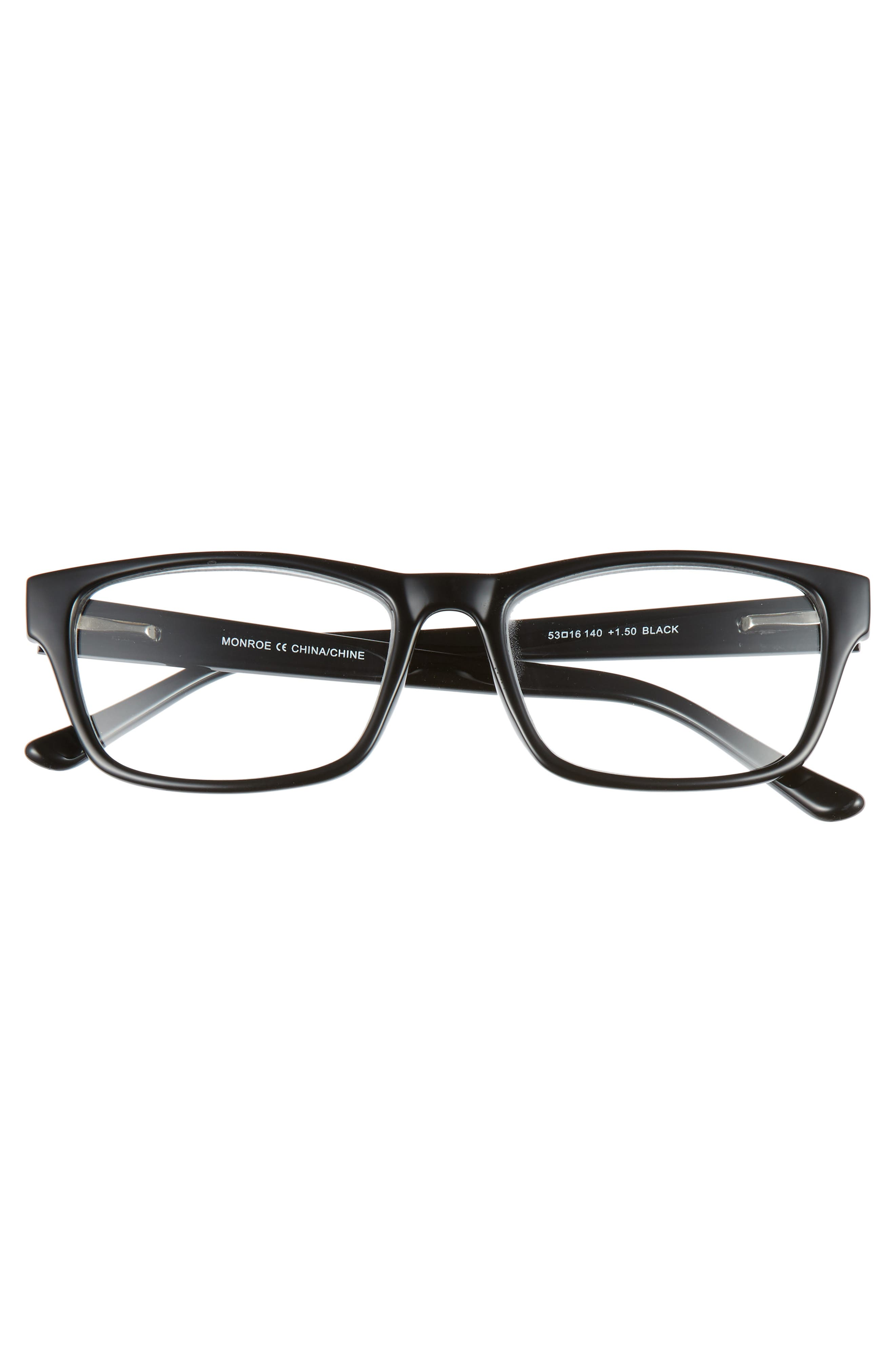 Monroe 53mm Reading Glasses,                             Alternate thumbnail 2, color,                             BLACK