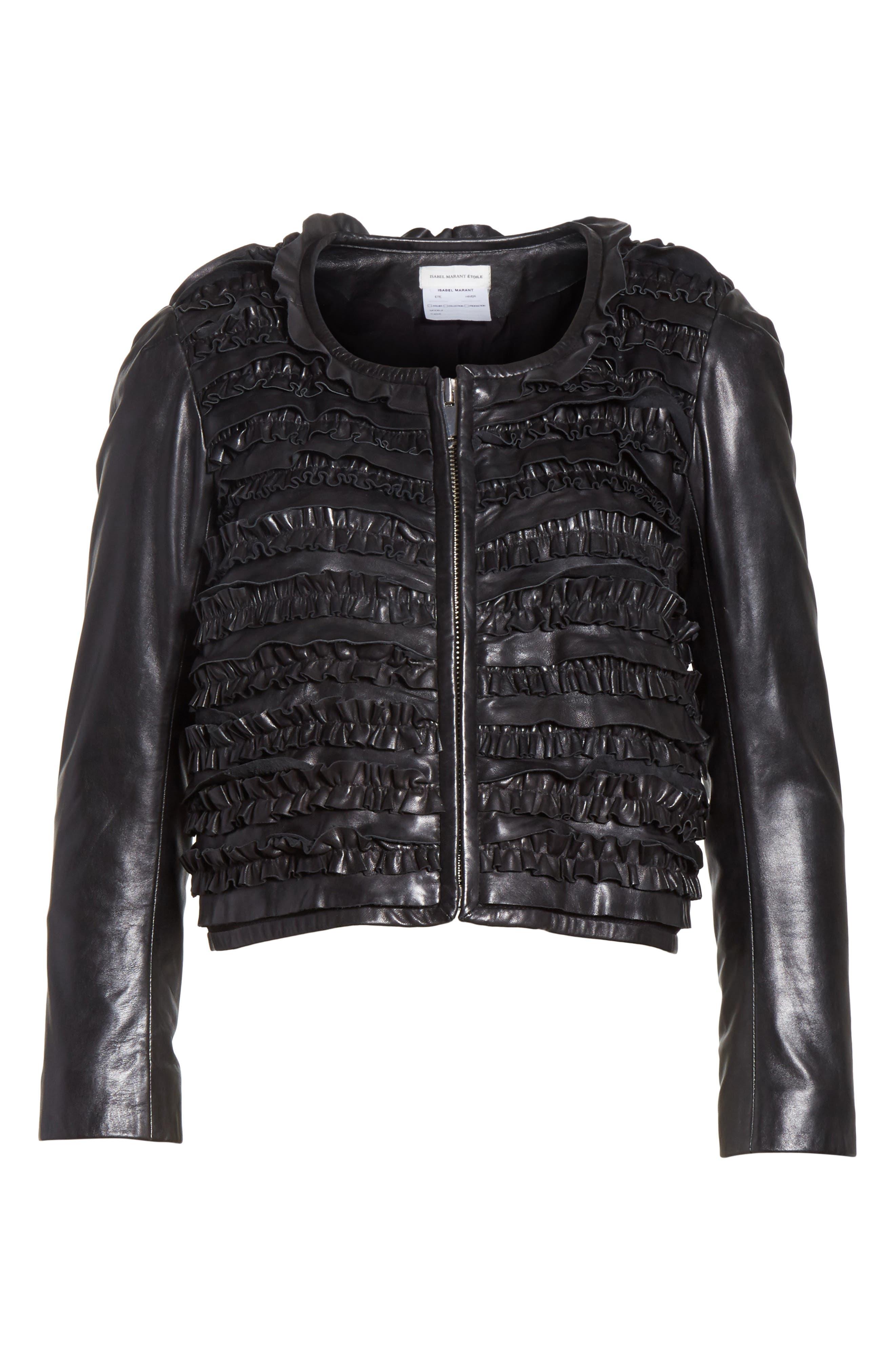 Isabel Marant Étoile Abella Frill Leather Jacket,                             Alternate thumbnail 5, color,