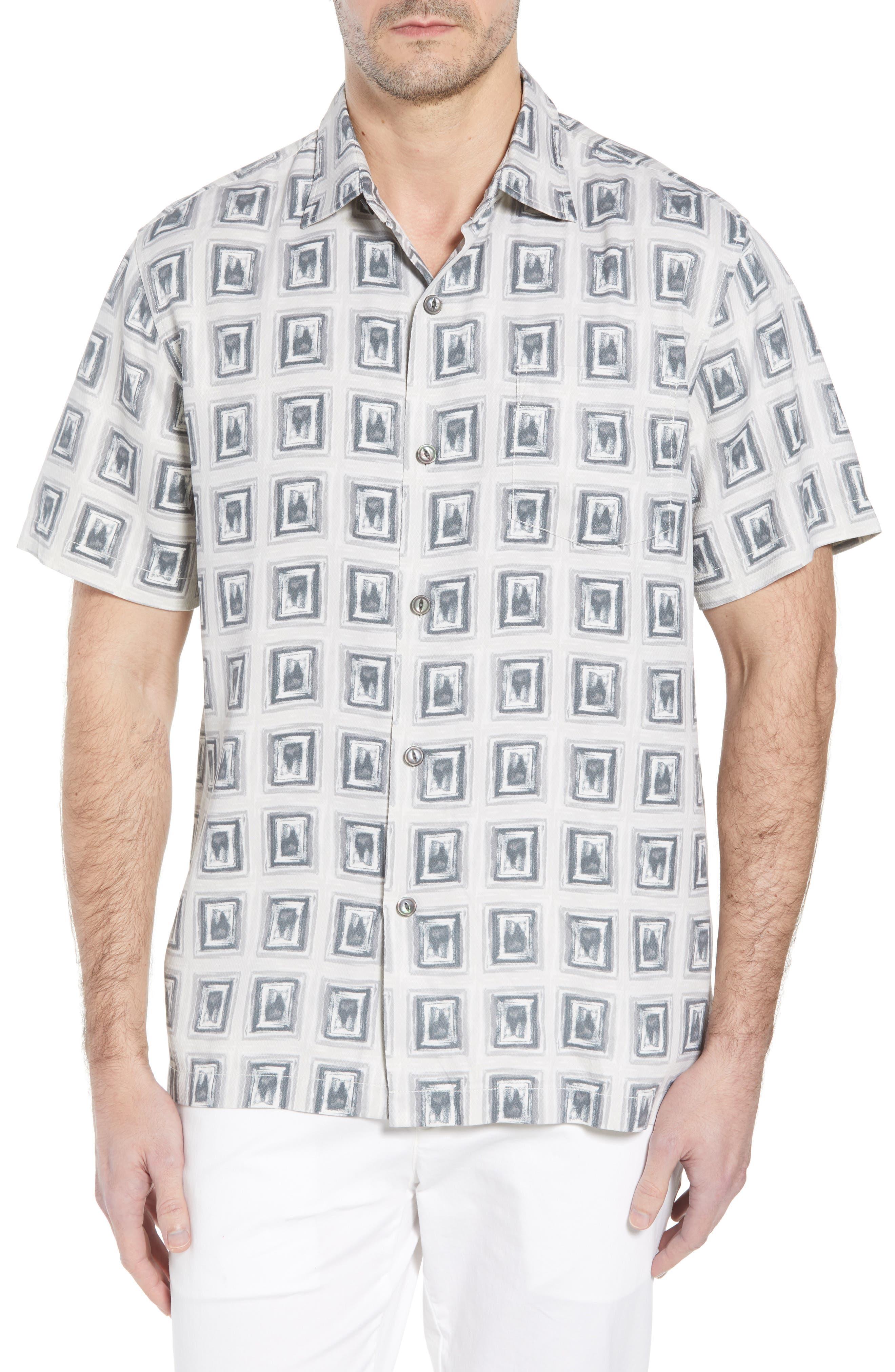 Casa de Quatro Silk Camp Shirt,                         Main,                         color, FOGGY DEW