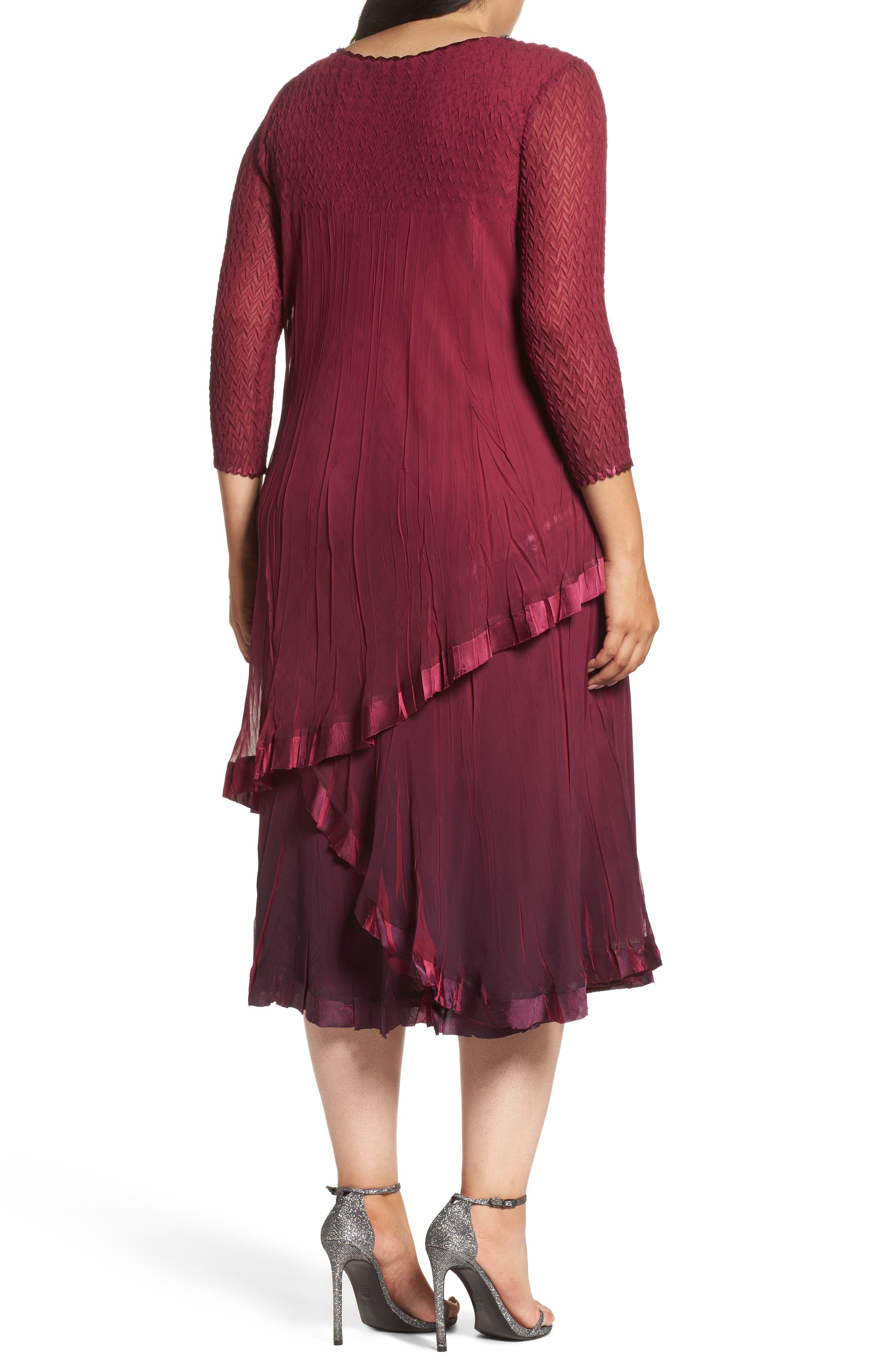 Tiered Ombrè Charmeuse & Chiffon Dress,                             Alternate thumbnail 2, color,