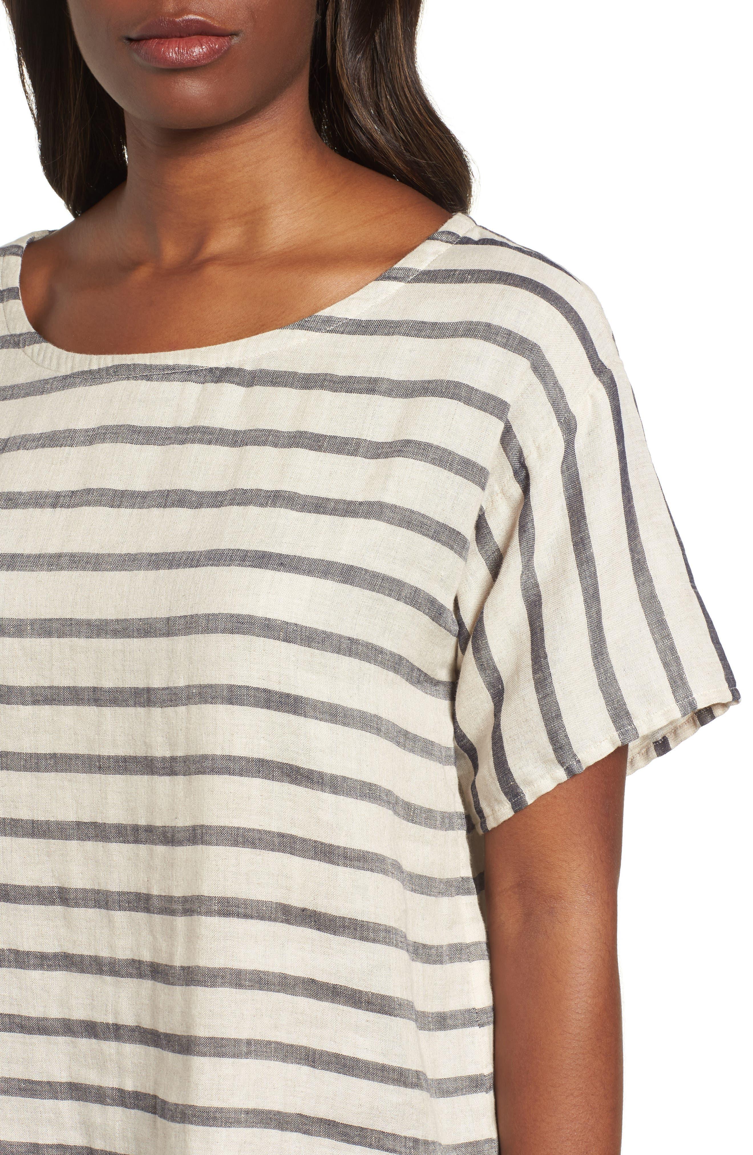 Stripe Linen & Organic Cotton Top,                             Alternate thumbnail 4, color,                             257
