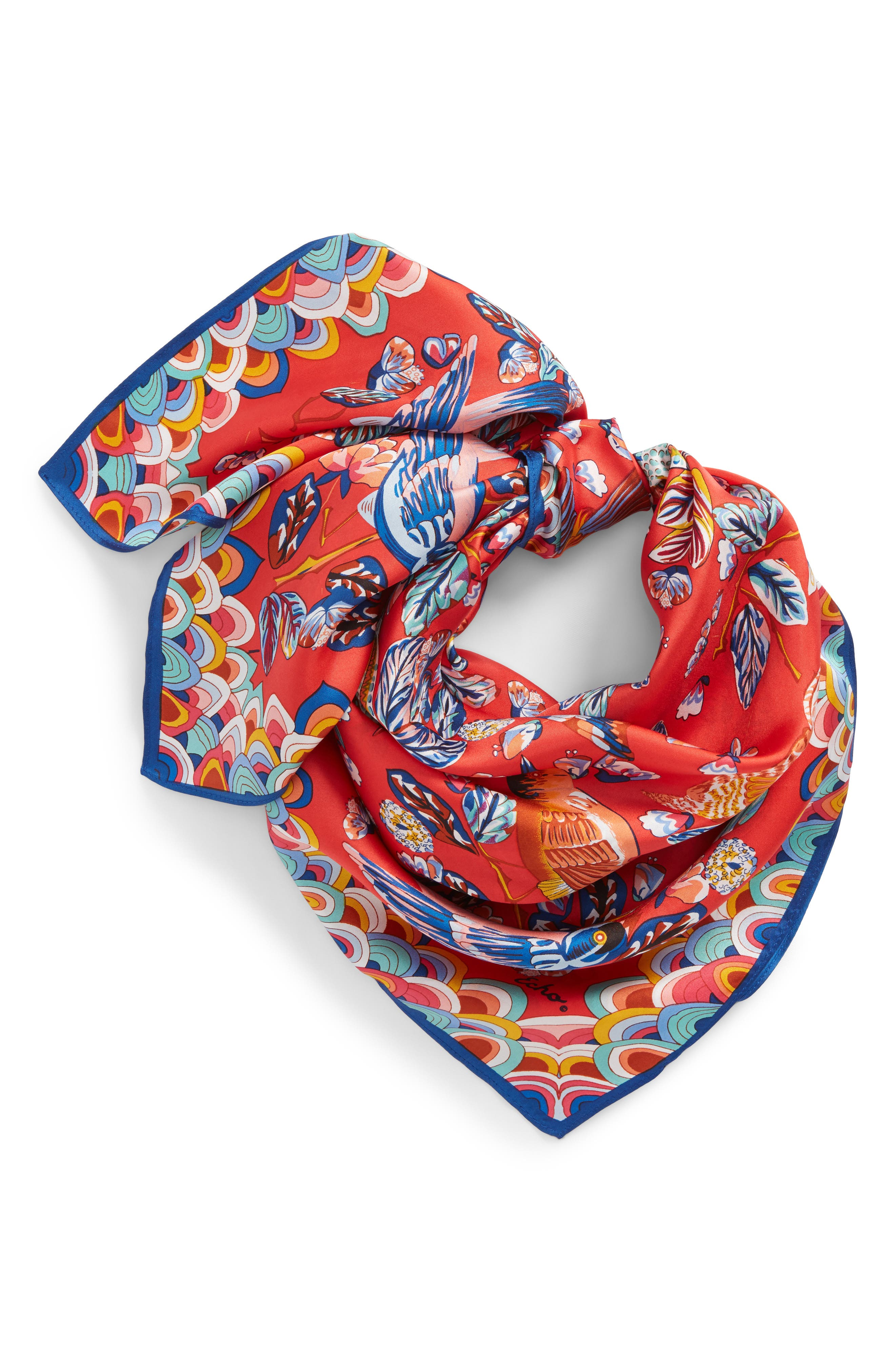 Flight of Fancy Square Silk Scarf,                             Alternate thumbnail 4, color,