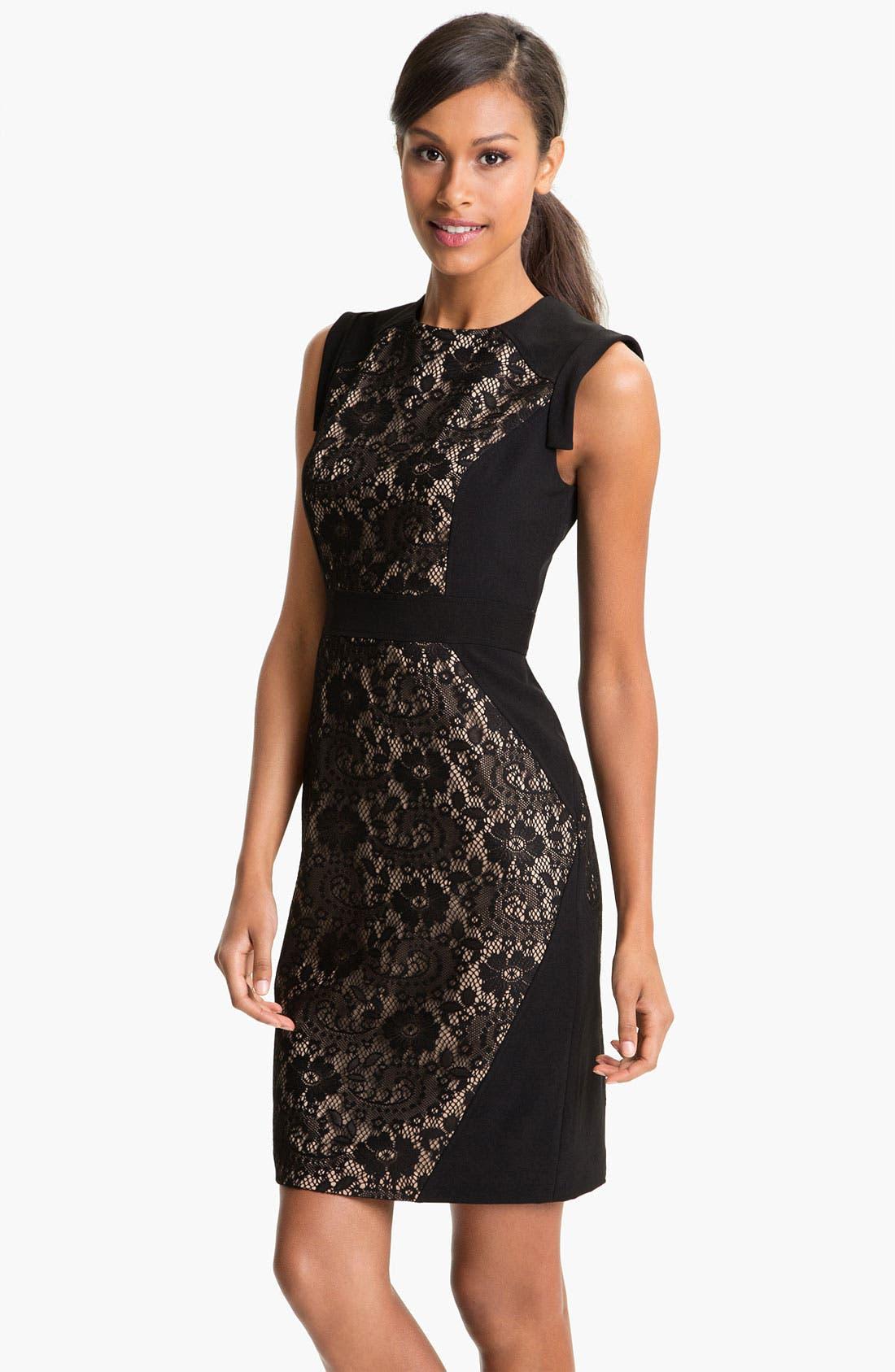 Lace Inset Crepe Sheath Dress,                             Main thumbnail 1, color,                             001