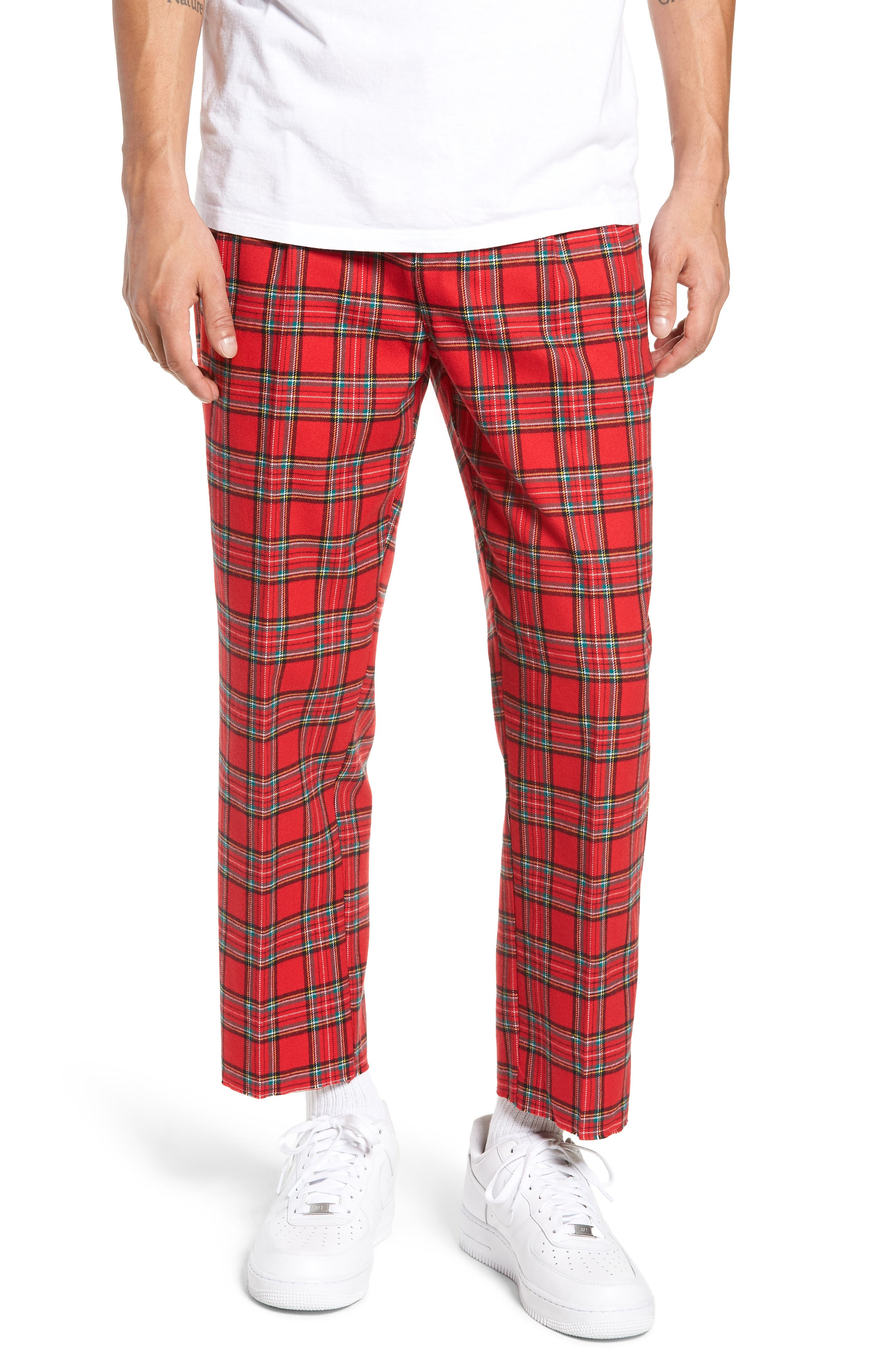 Pleated Plaid Crop Pants,                             Main thumbnail 1, color,                             GREY CHARCOAL GLENN PLAID