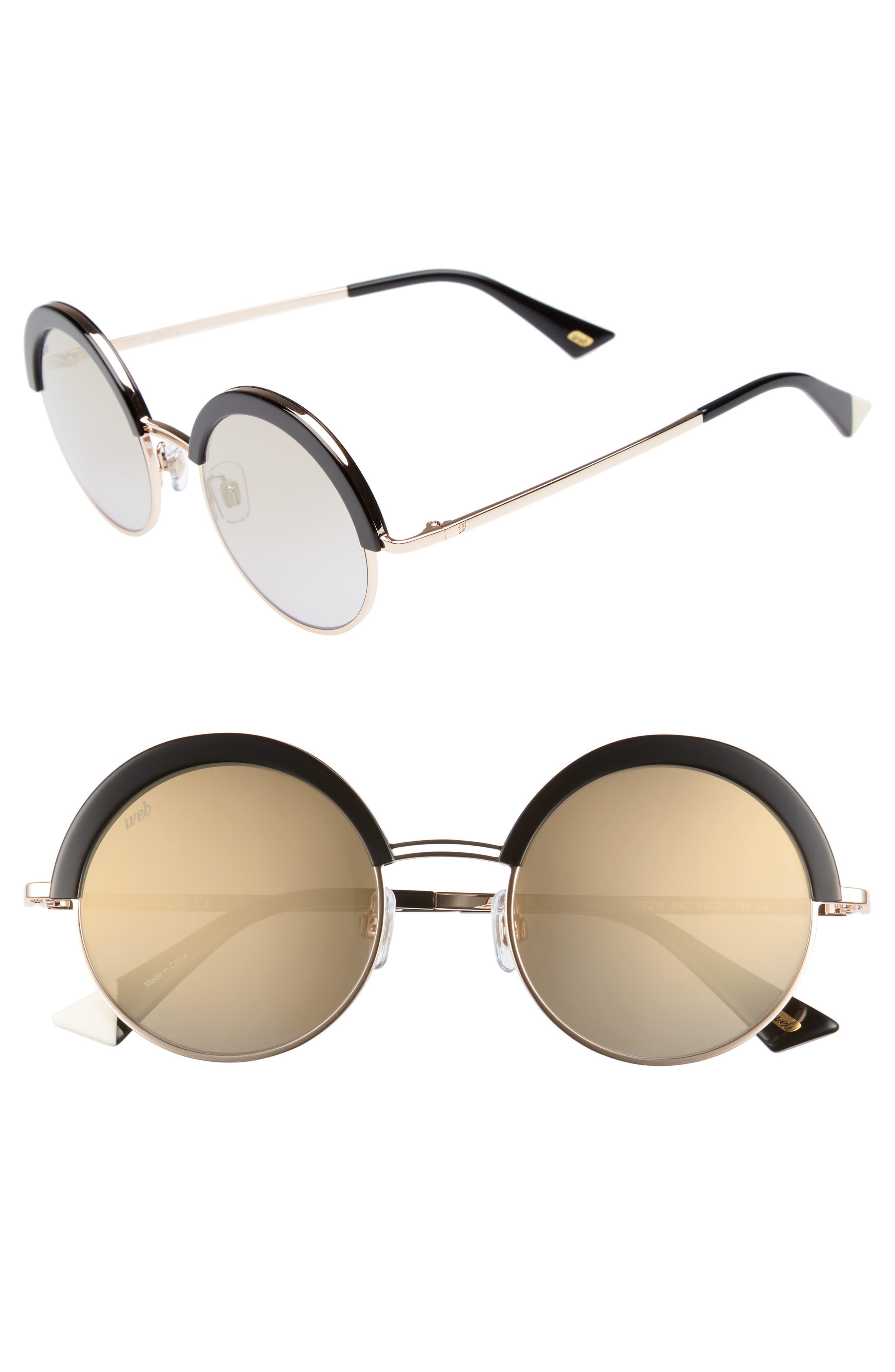 51mm Round Sunglasses,                         Main,                         color, SHINY BLACK/ SMOKE MIRROR