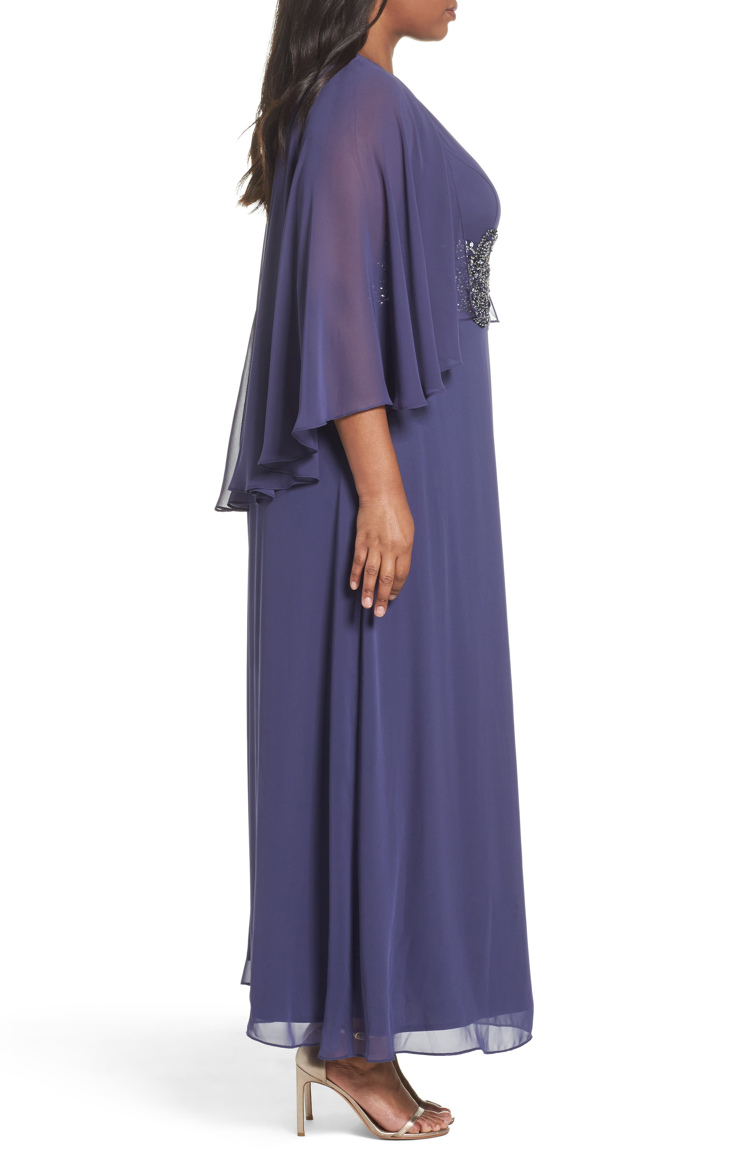 Embellished Waist Capelet Gown,                             Alternate thumbnail 3, color,                             411
