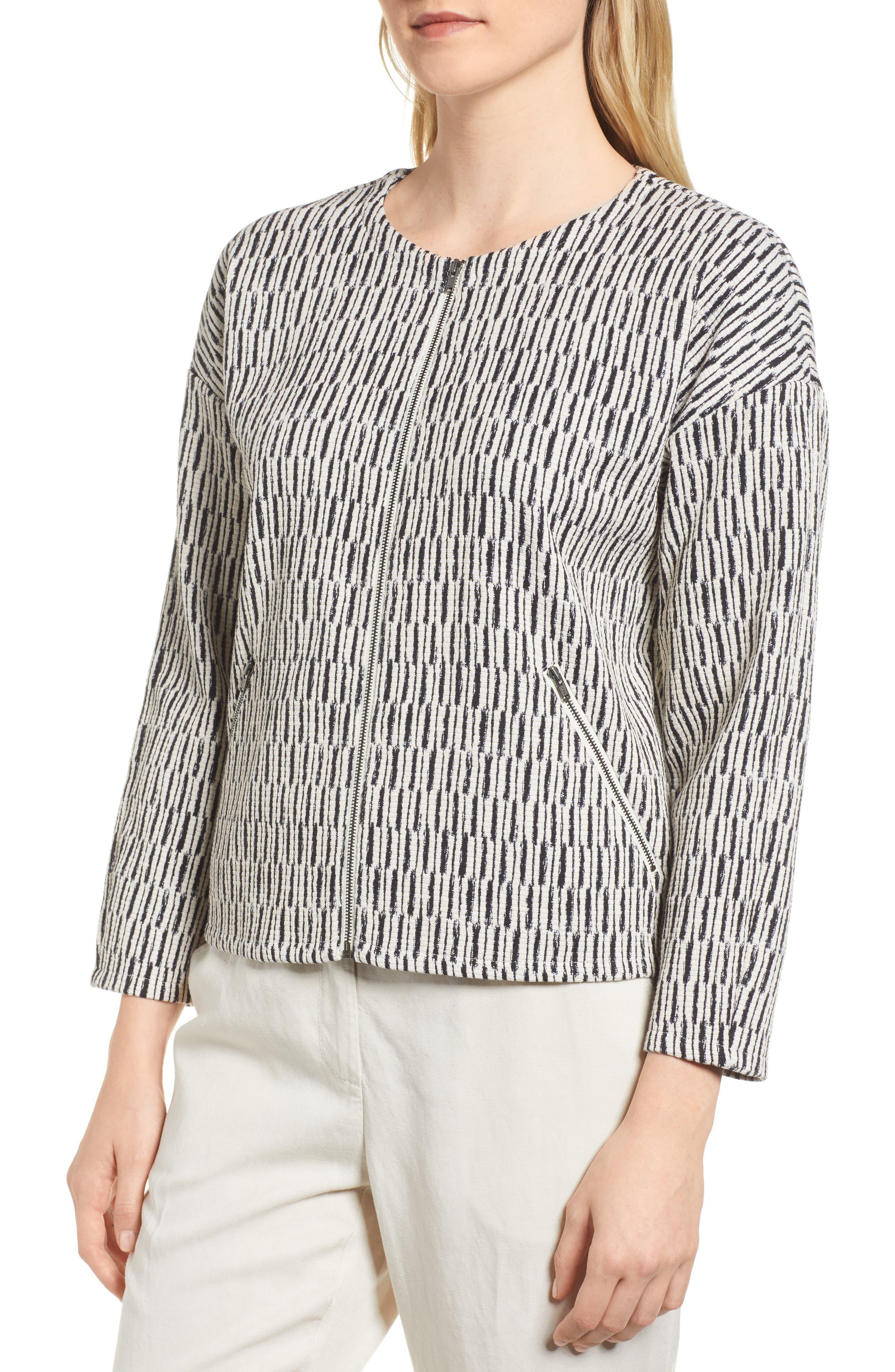 Tweed Jacket,                             Alternate thumbnail 4, color,                             BLACK/ WHITE