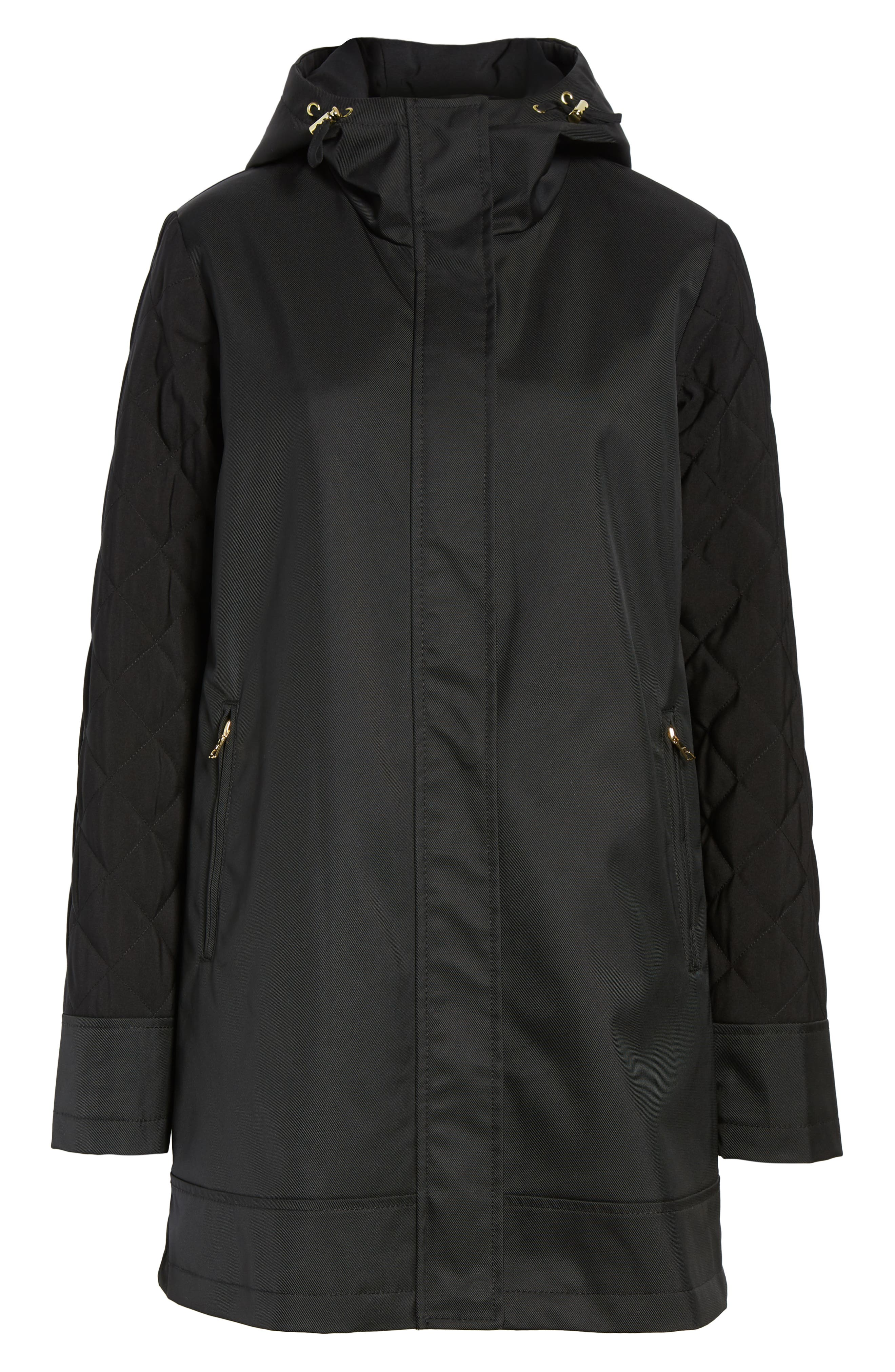 Hallie Quilted Sleeve Twill Parka,                             Alternate thumbnail 6, color,                             BLACK