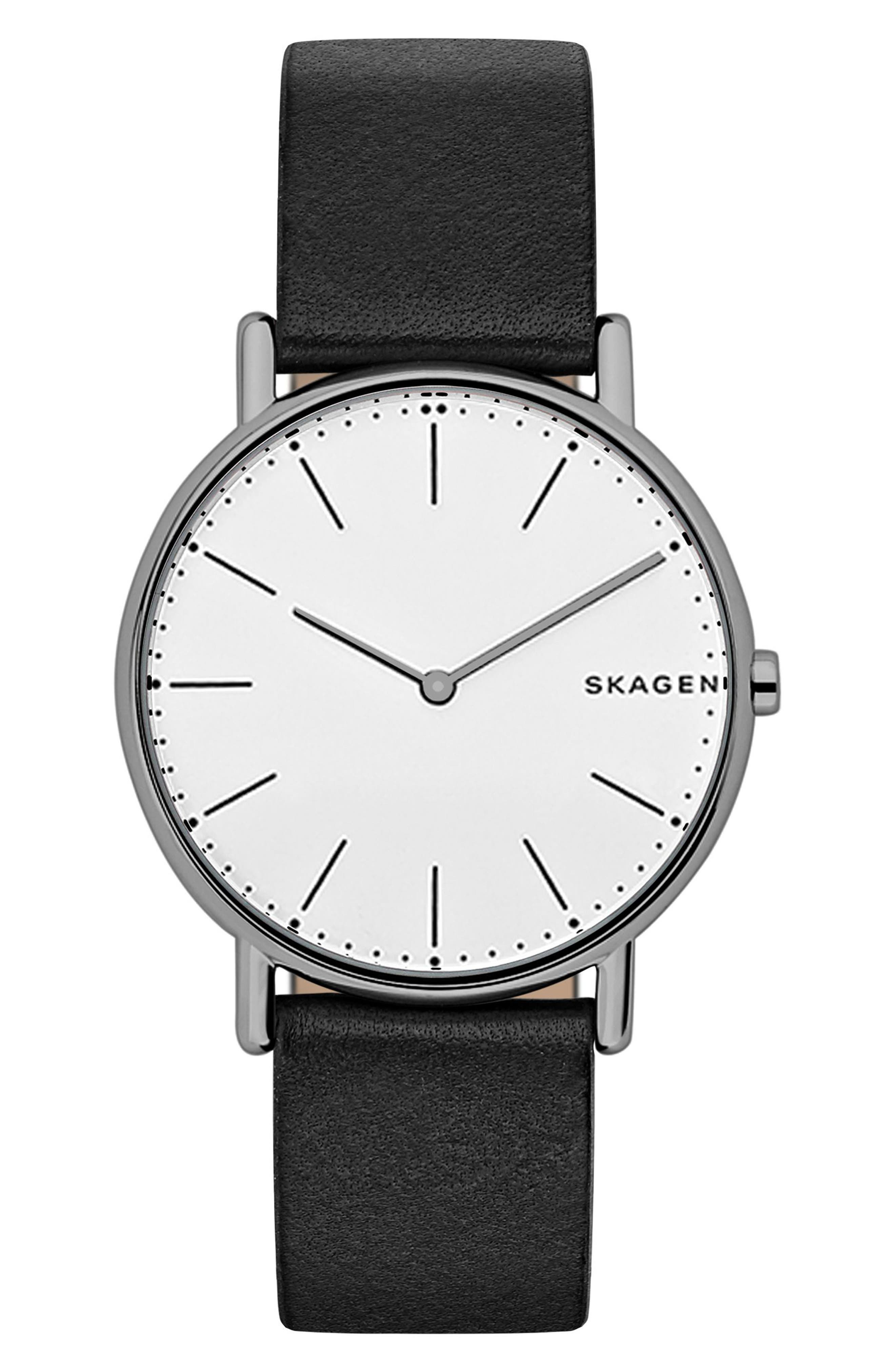 Signatur Leather Strap Watch, 40mm,                         Main,                         color, BLACK/ WHITE/ GREY