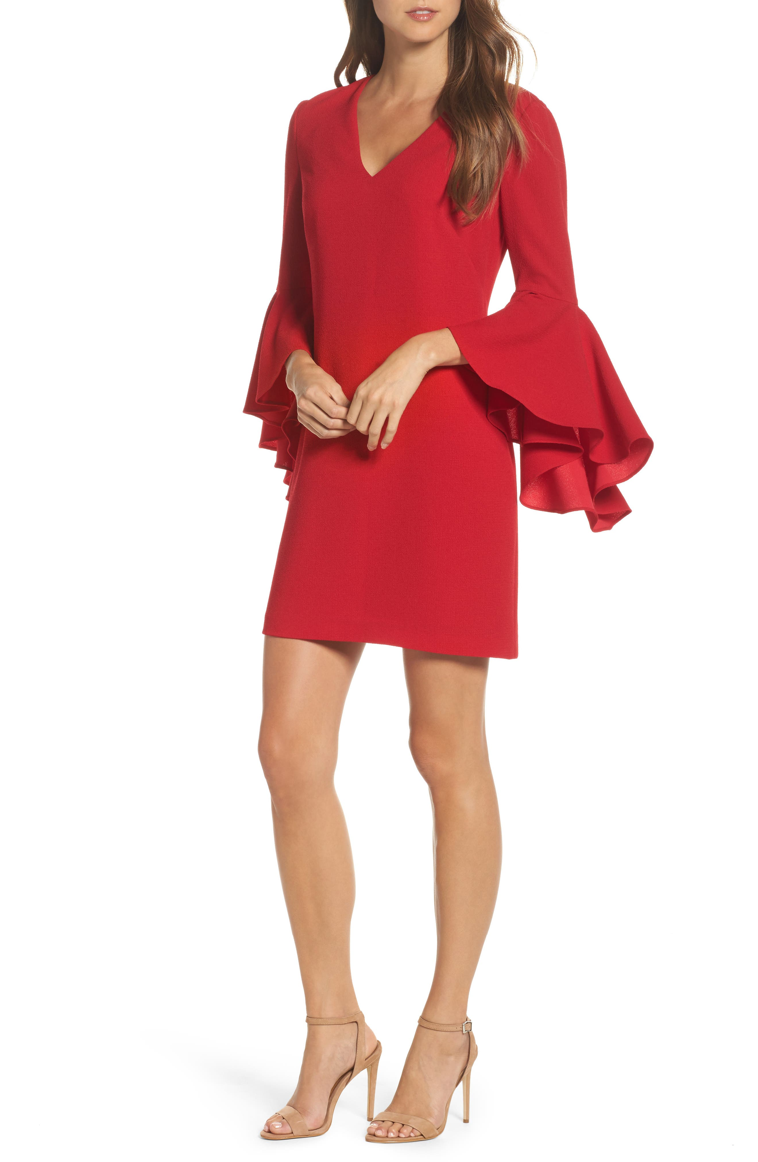 Bell Sleeve Shift Dress,                         Main,                         color, 625