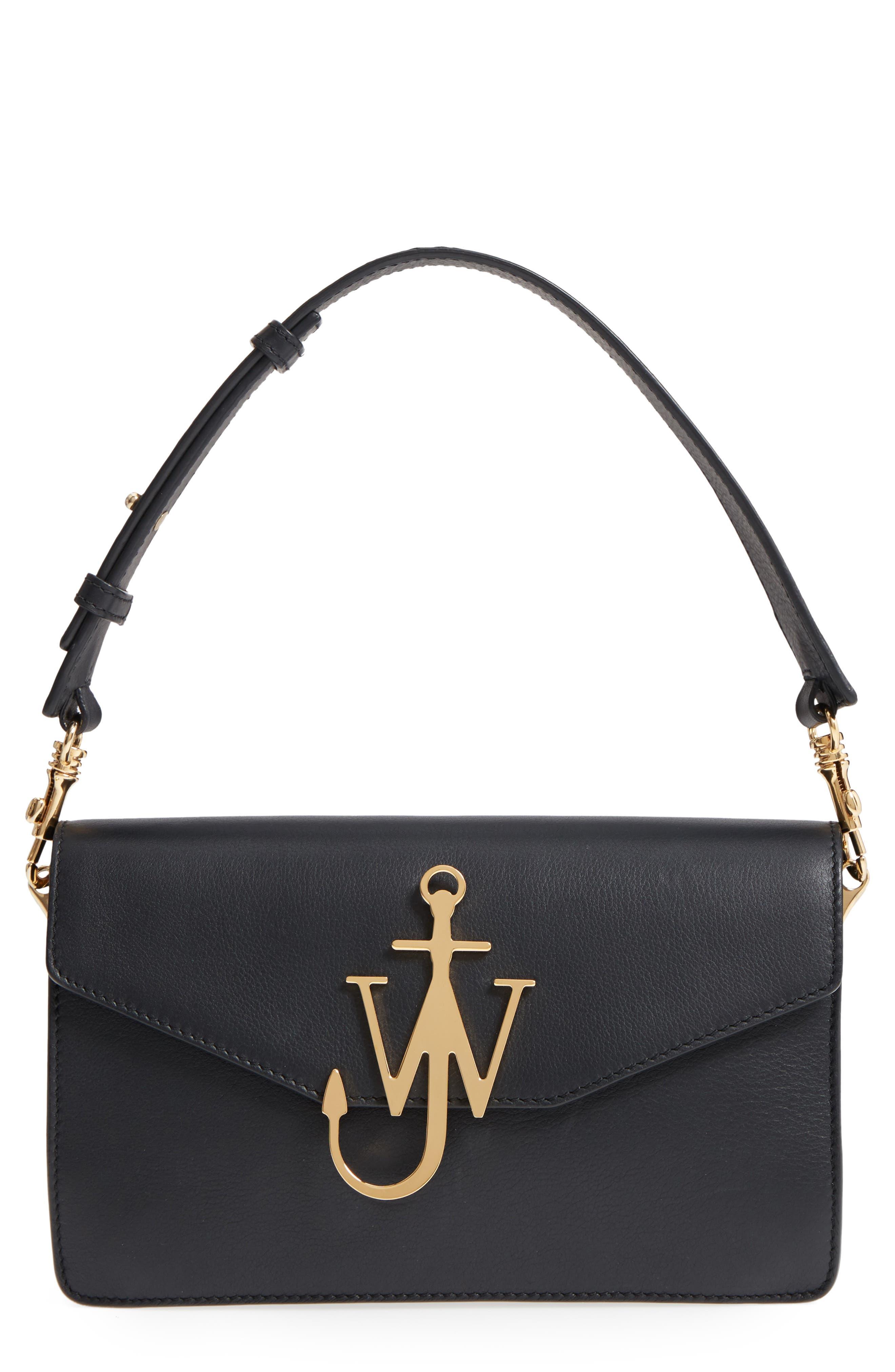 Logo Leather Shoulder Bag,                         Main,                         color, 001