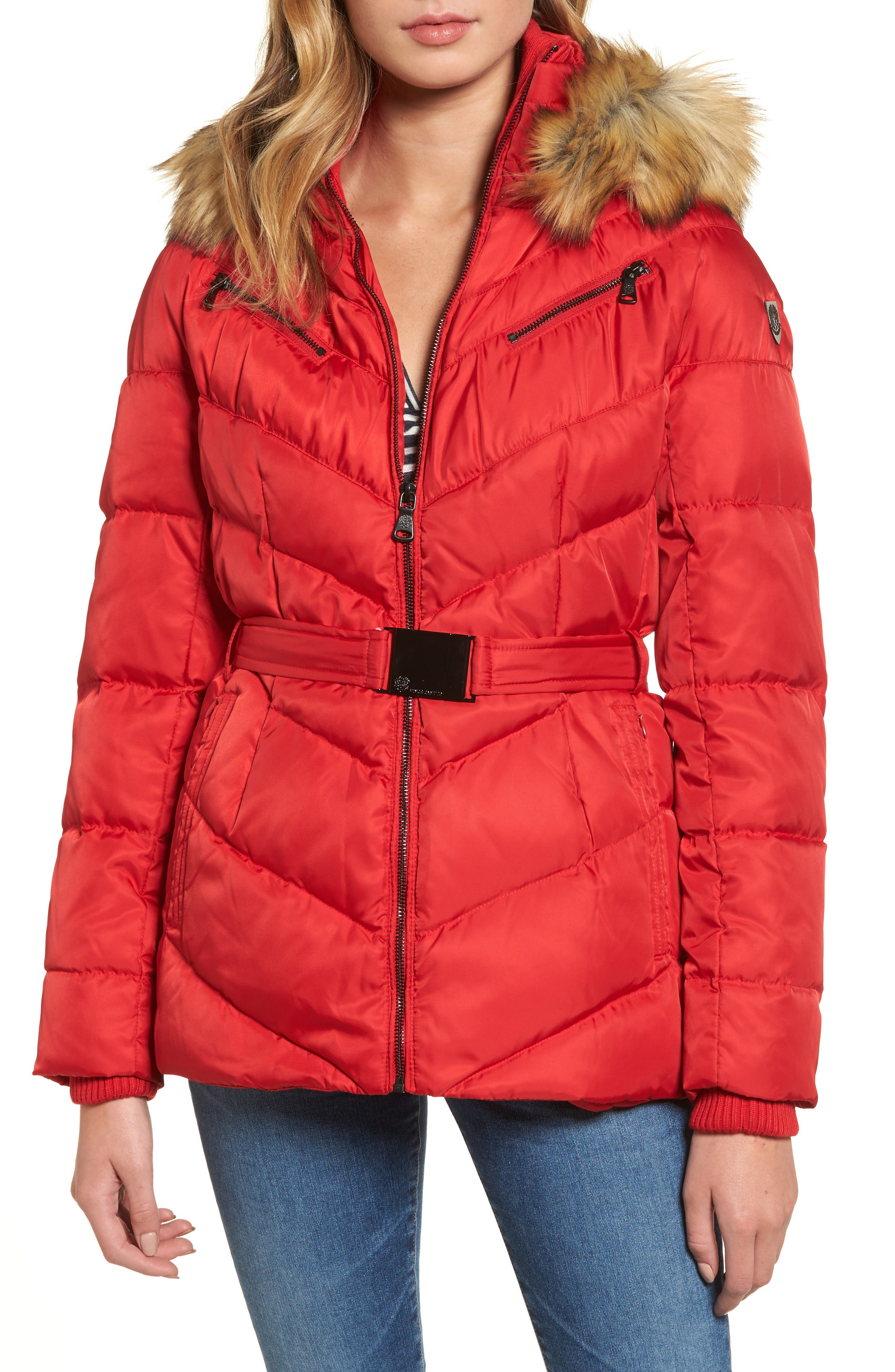 Belted Down & Feather Fill Coat with Faux Fur Trim Hood,                             Main thumbnail 4, color,