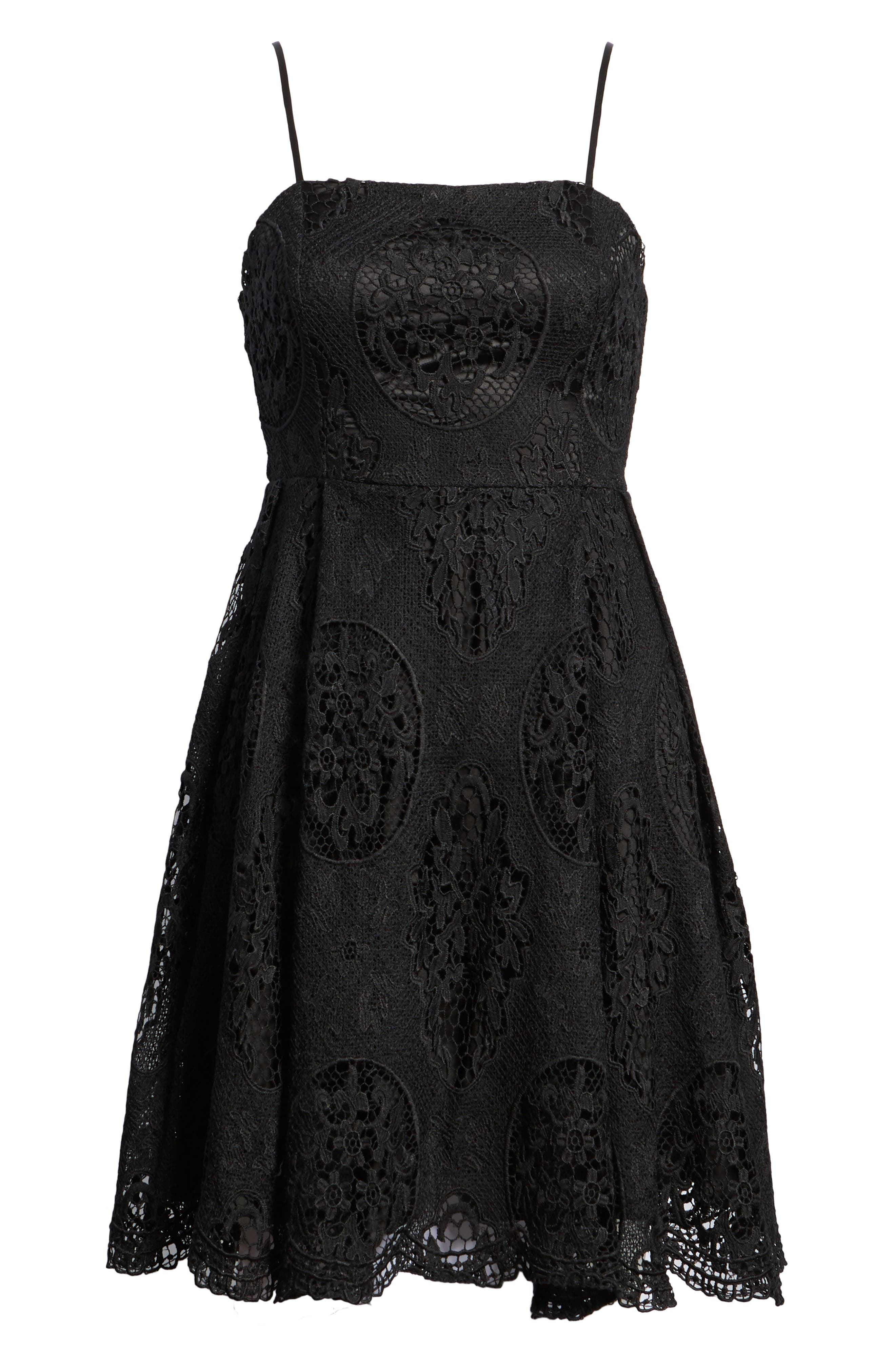 Lace Fit & Flare Dress,                             Alternate thumbnail 7, color,                             001