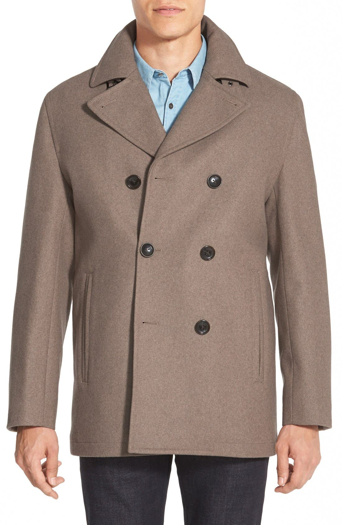 Wool Blend Double Breasted Peacoat,                             Main thumbnail 2, color,