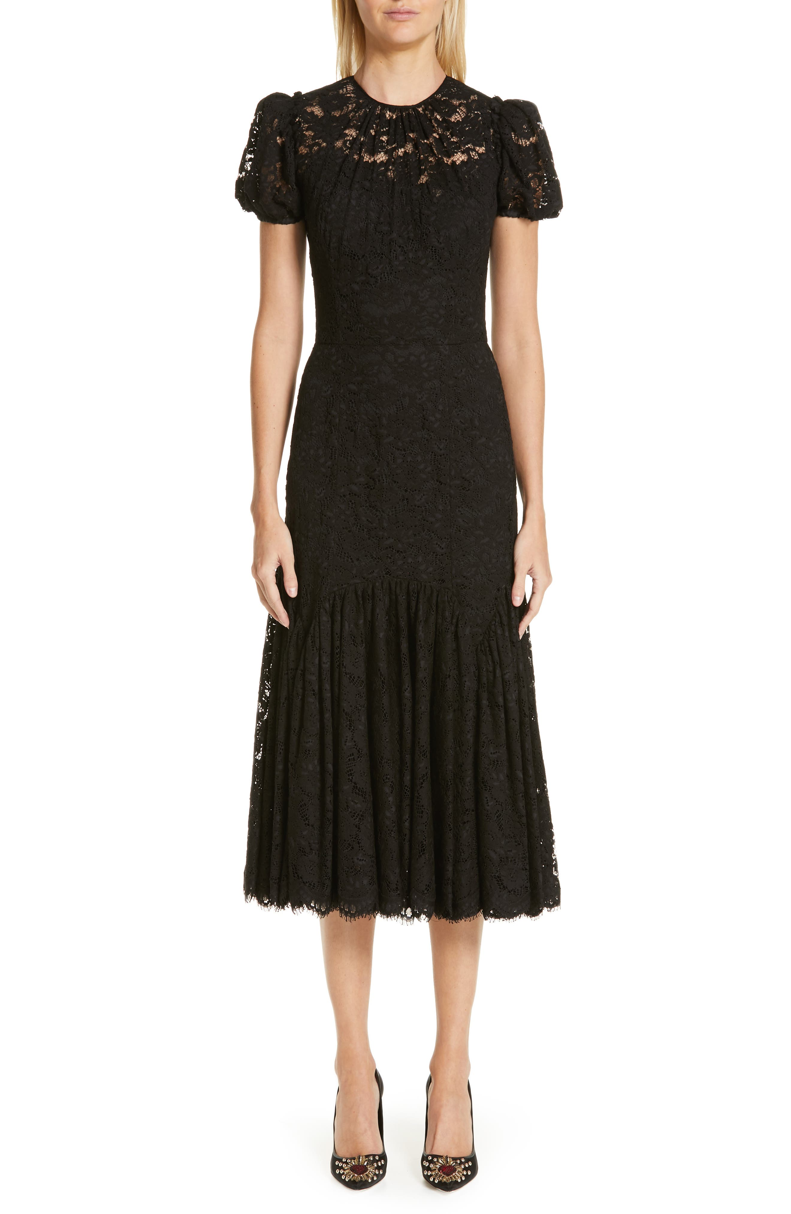 Dolce & gabbana Ruffle Lace Dress, 8 IT - Black