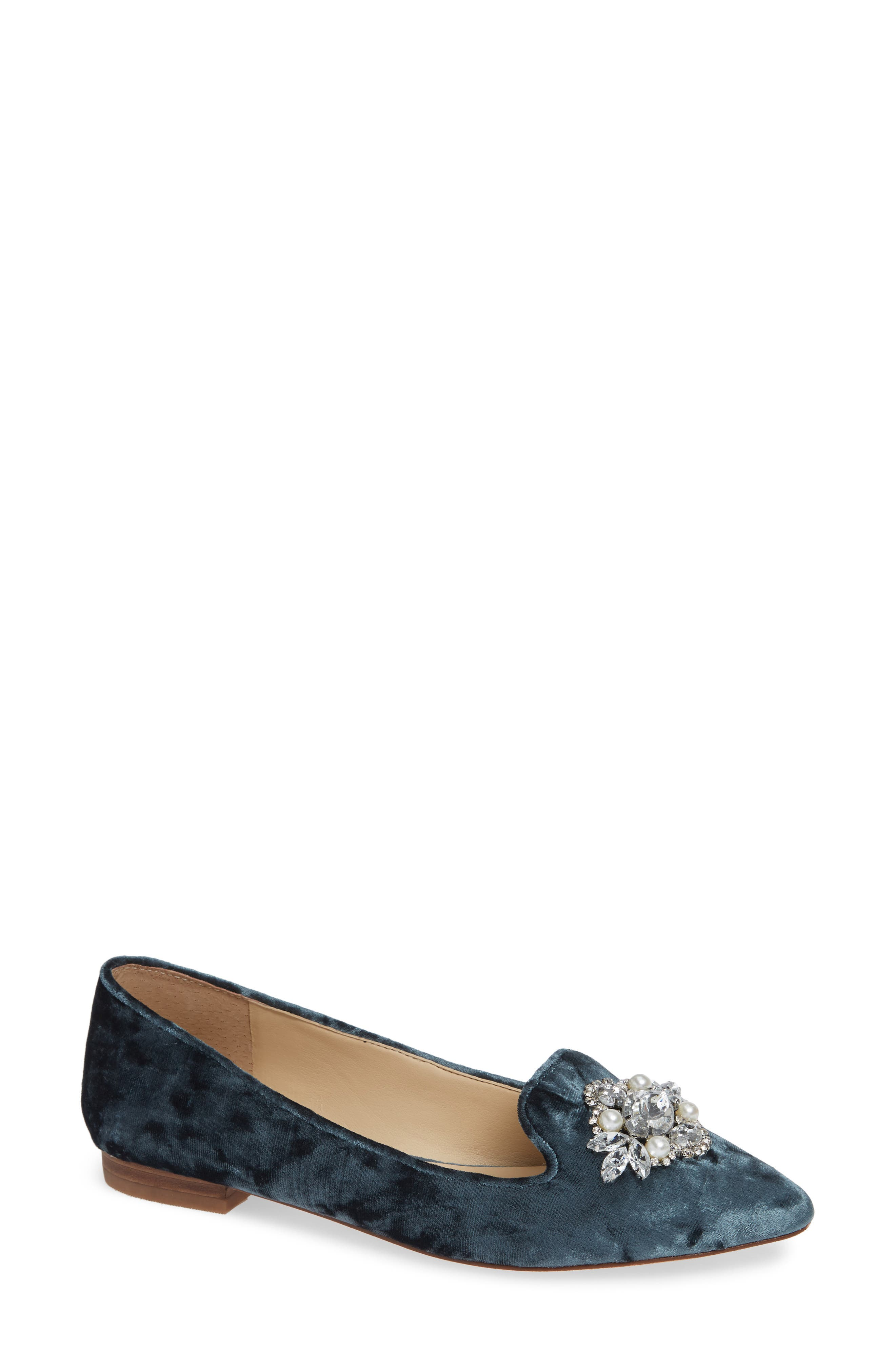 Libry Crystal Embellished Flat,                             Main thumbnail 1, color,                             CLOUD BLUE VELVET