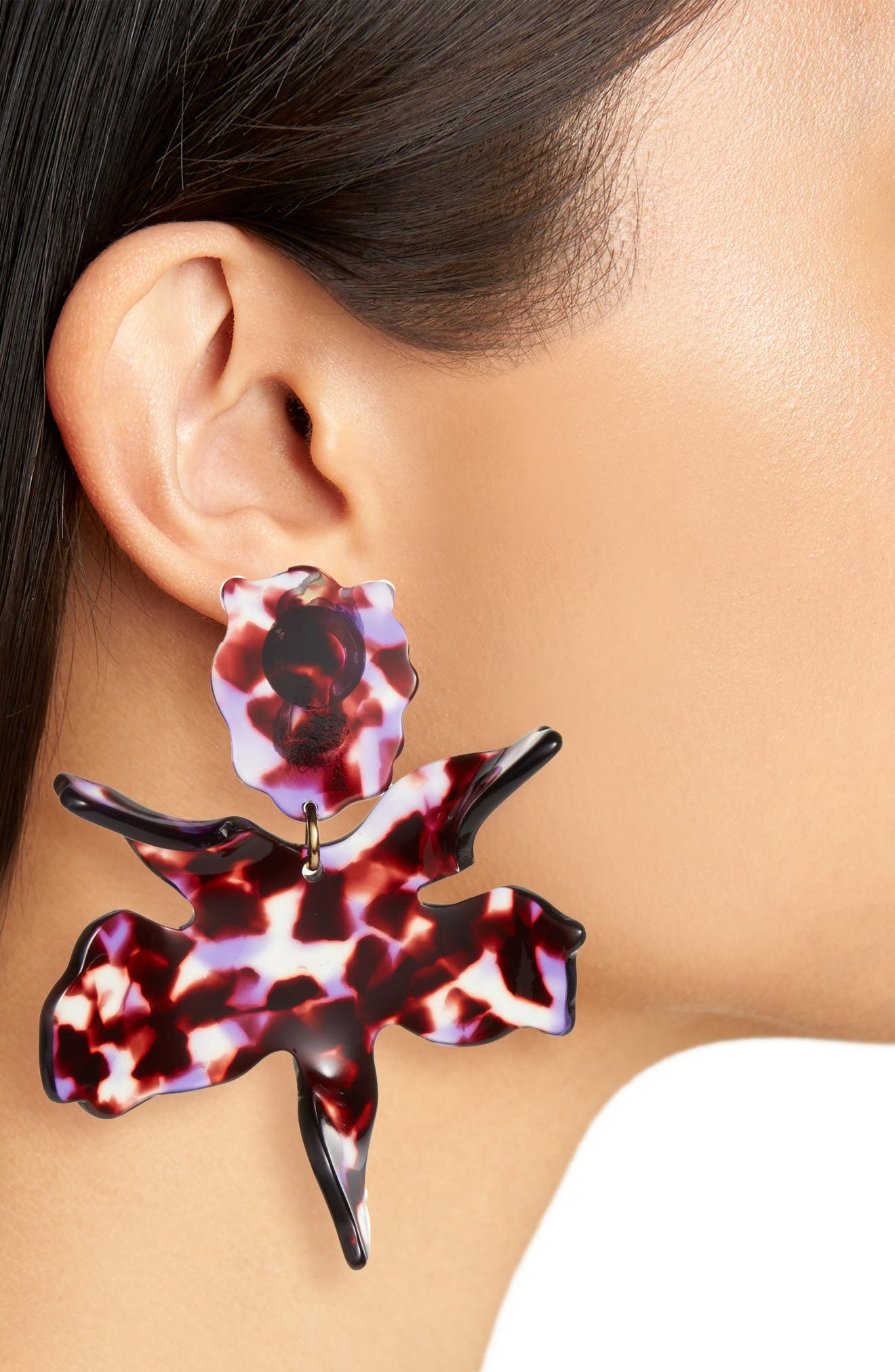 Paper Lilly Drop Earrings,                             Alternate thumbnail 2, color,                             BLACK ORCHID