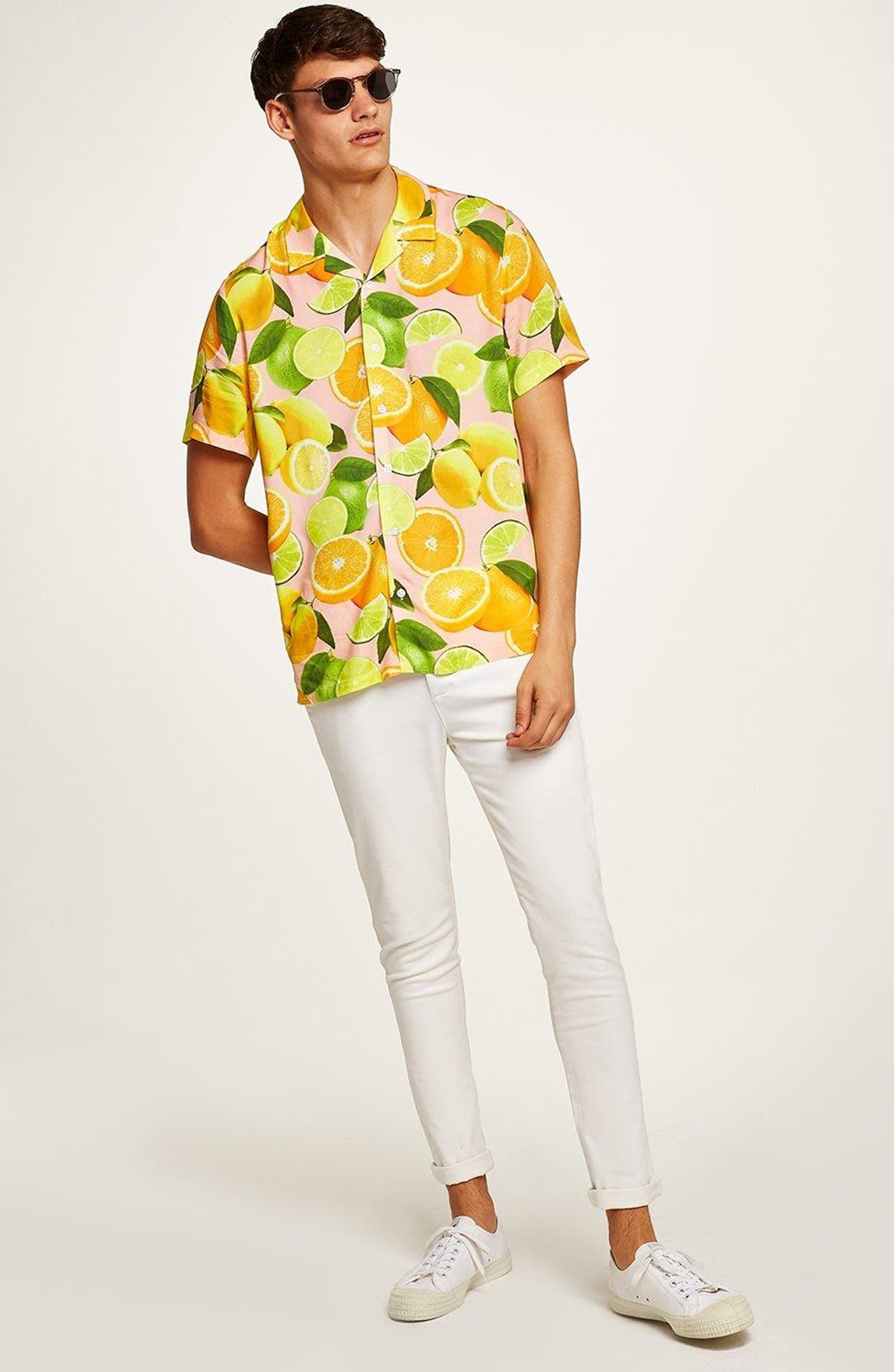 Lemon Print Camp Shirt,                             Alternate thumbnail 5, color,                             650