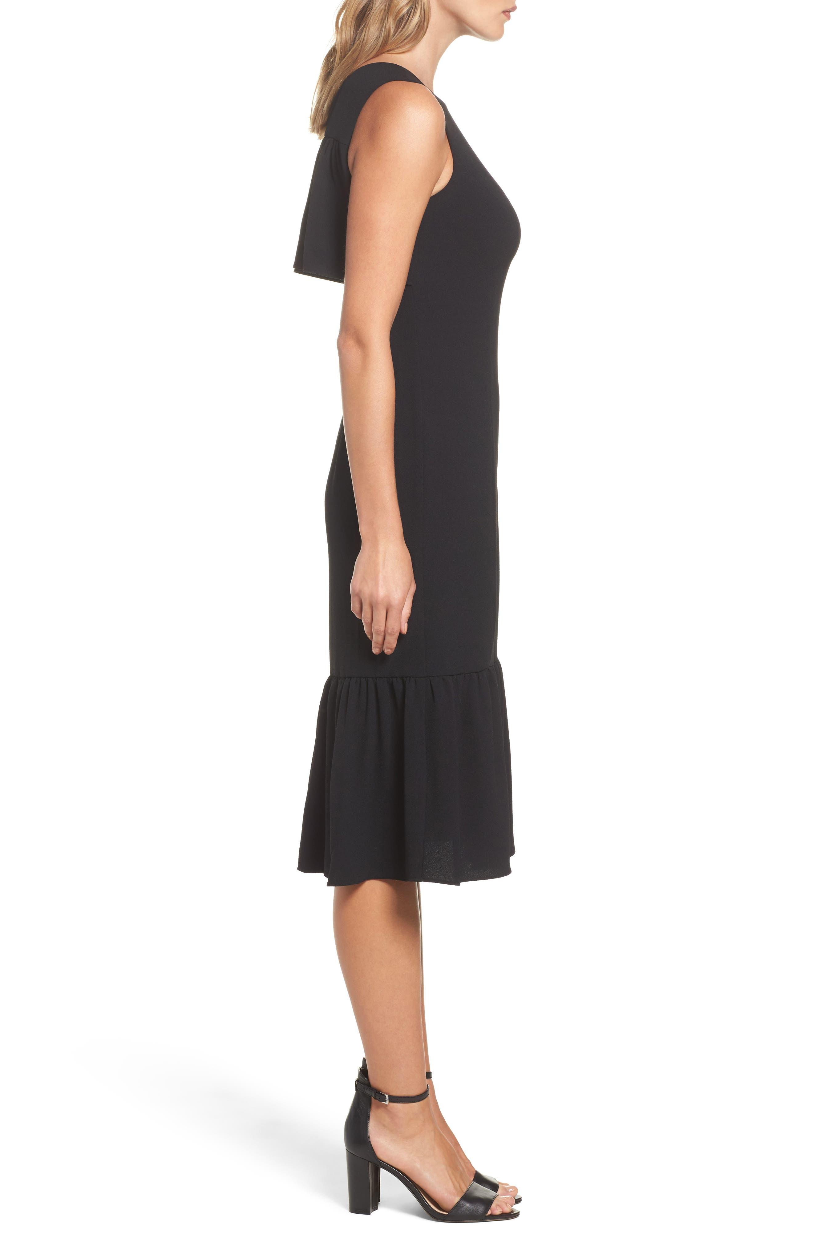 Ruffle Back Crepe Sheath Dress,                             Alternate thumbnail 3, color,                             002