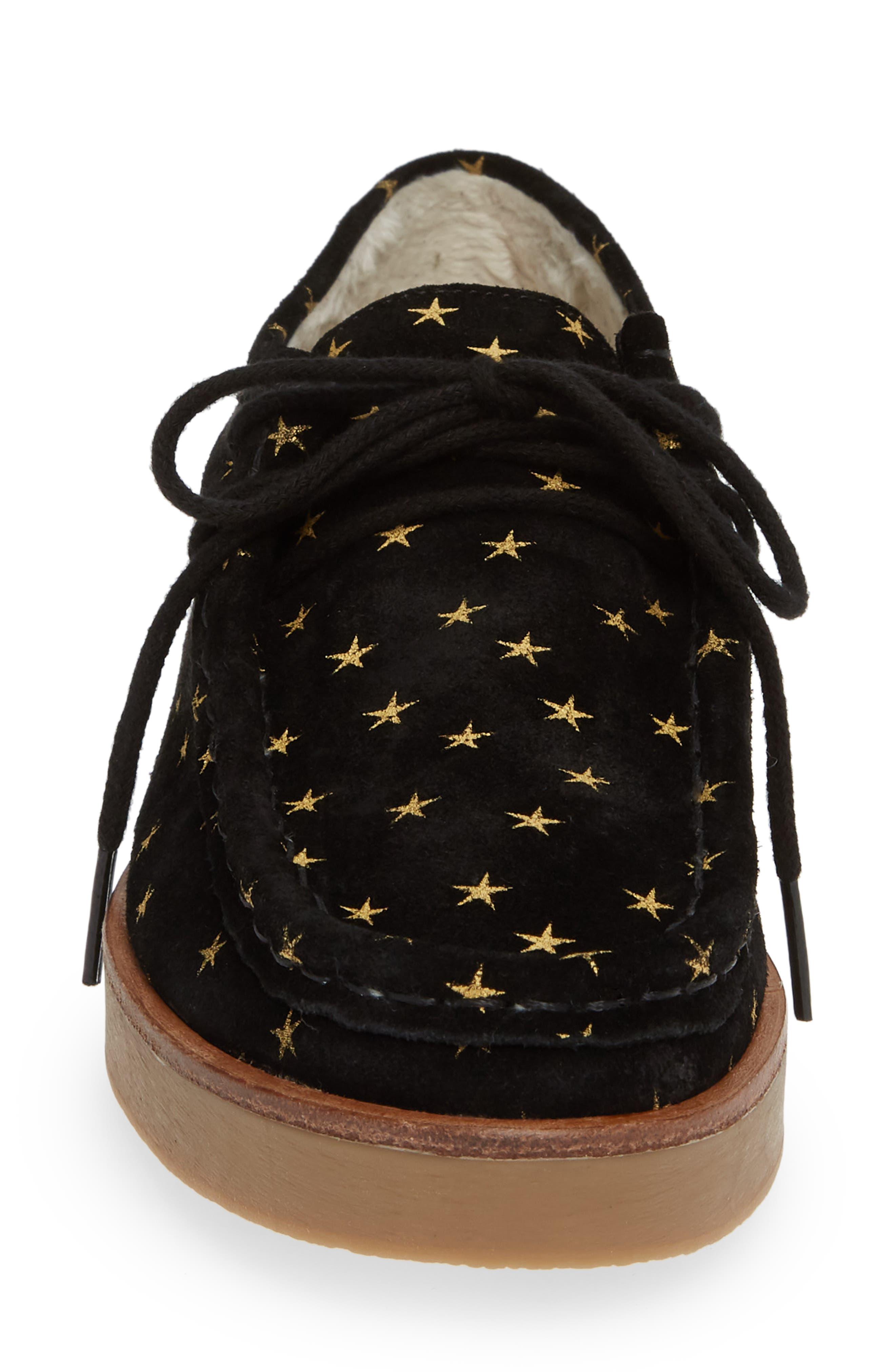 THE GREAT.,                             The Scout Star Sneaker,                             Alternate thumbnail 4, color,                             BLACK / GOLD STARS