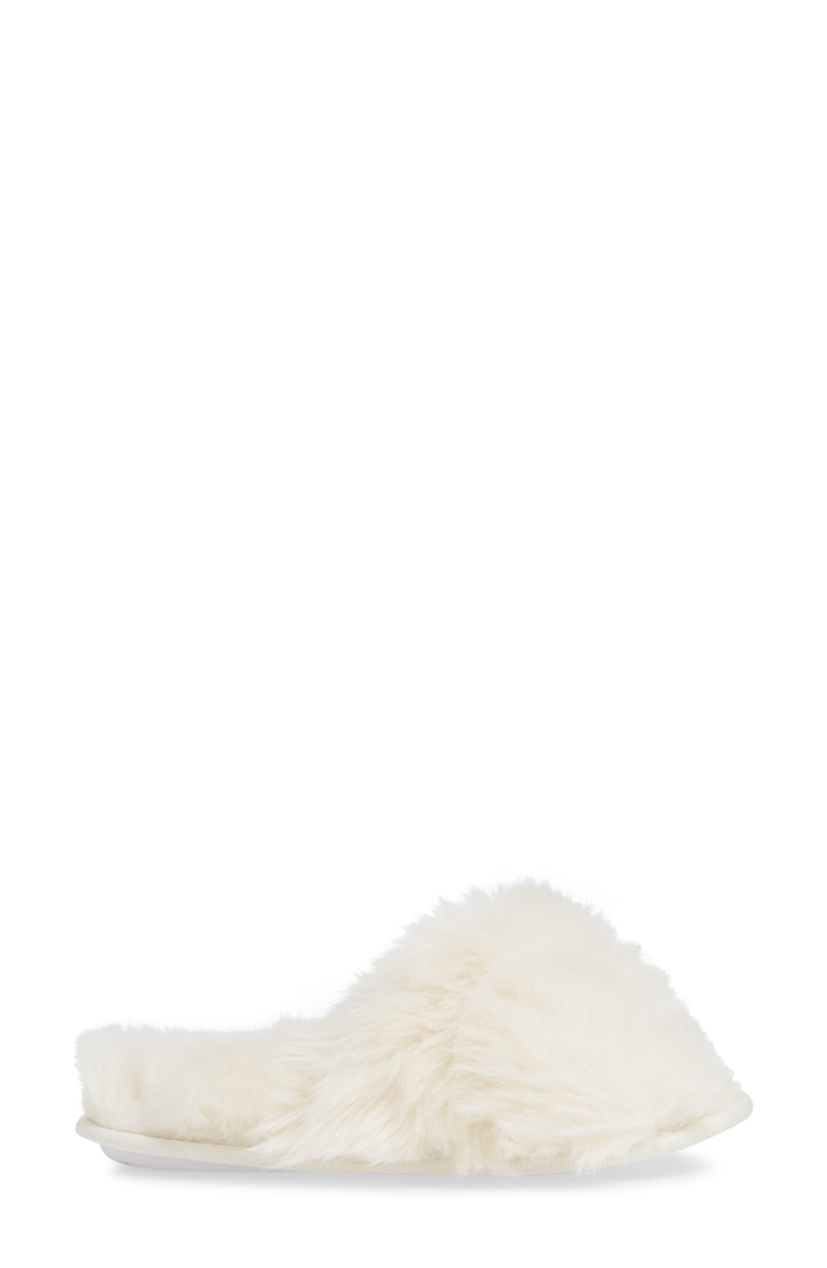 Cuddle Plush Faux Fur Scuff Slipper,                             Alternate thumbnail 3, color,                             IVORY
