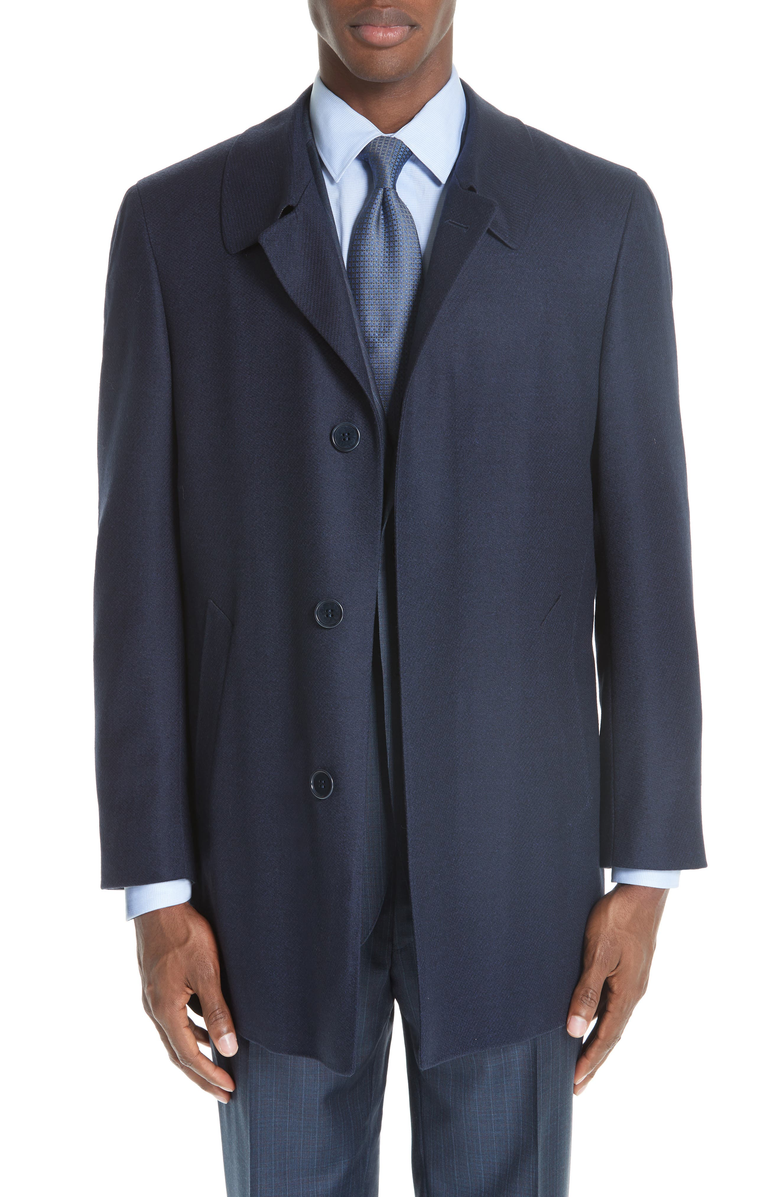 Impeccabile Wool Car Coat,                             Main thumbnail 1, color,                             NAVY