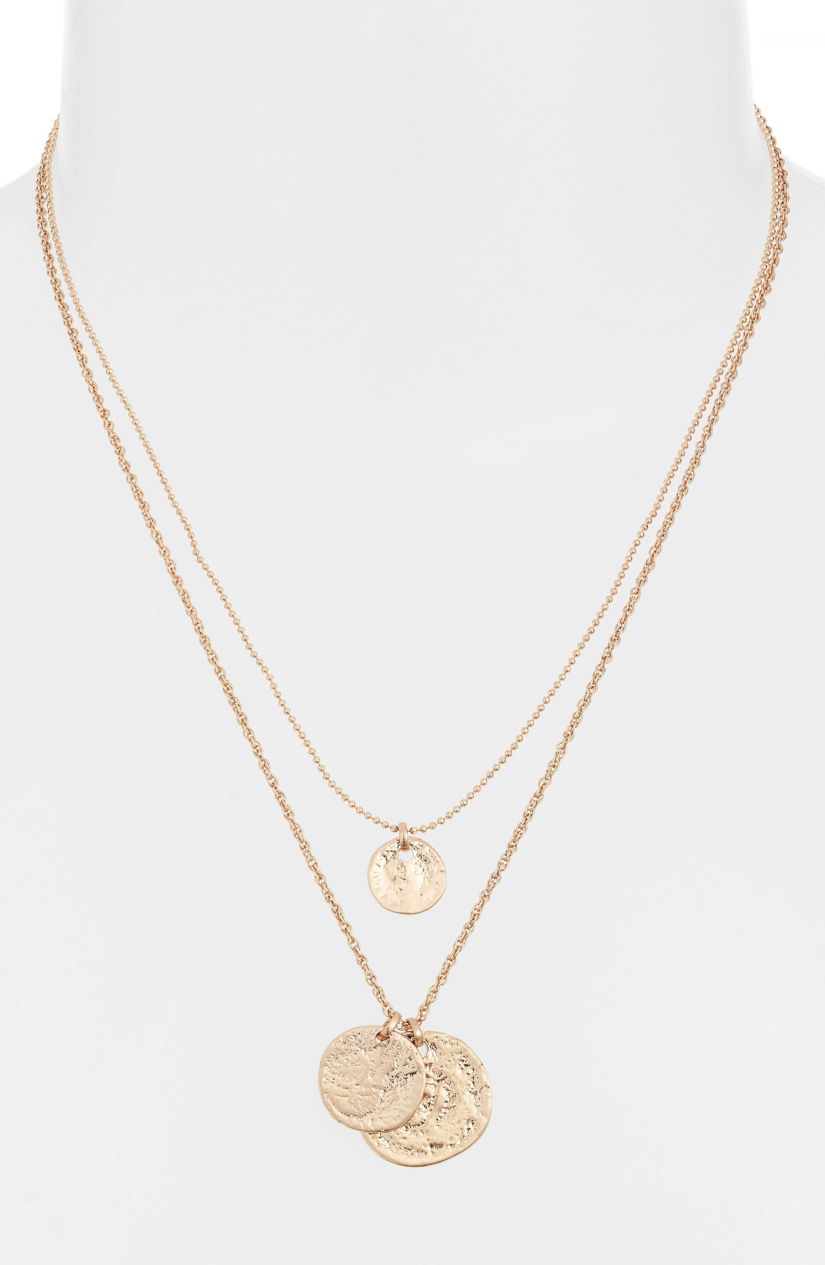 2 in 1 Disc Cluster Necklace, Alternate, color, GOLD