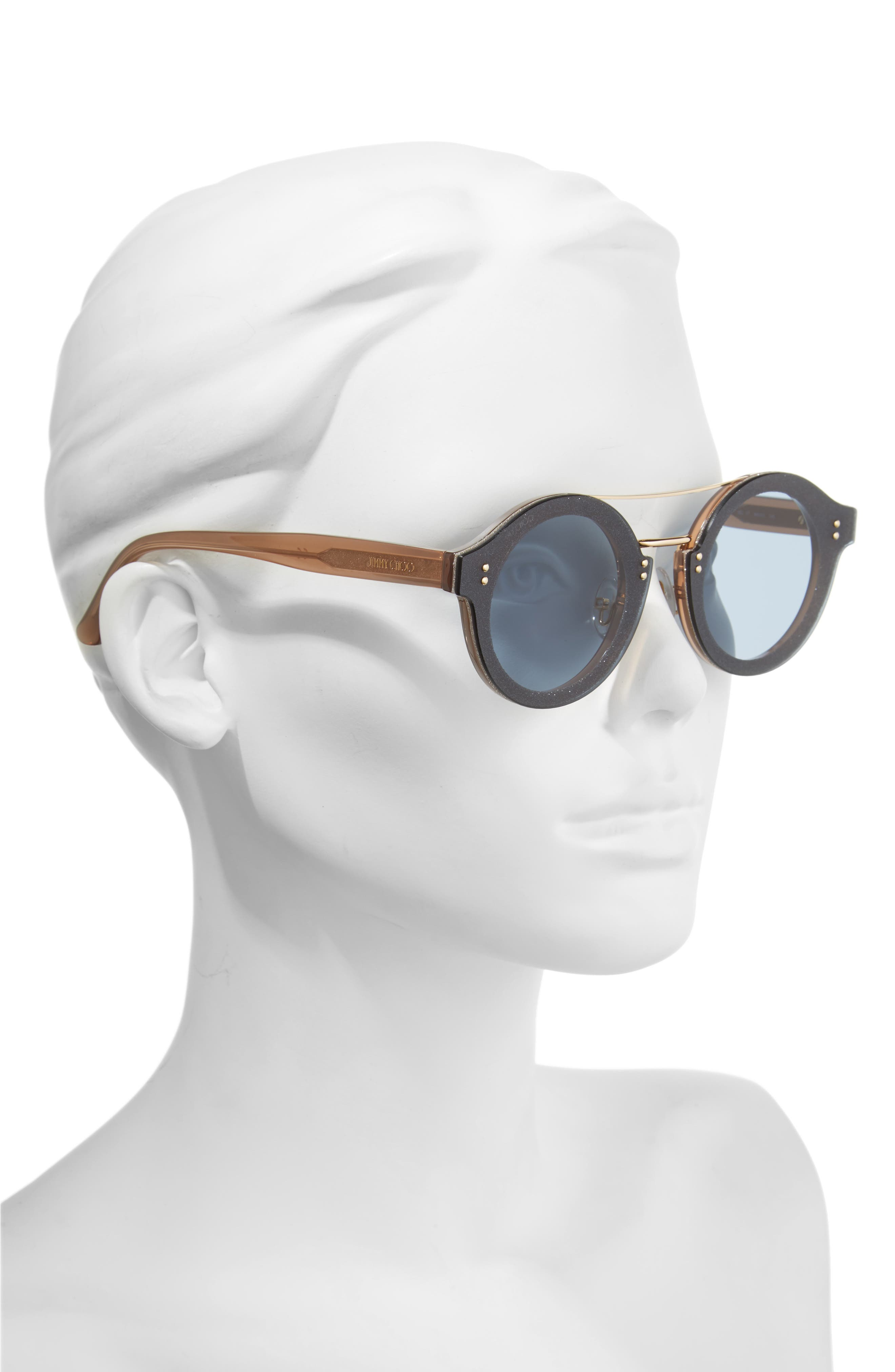 Monties 64mm Round Sunglasses,                             Alternate thumbnail 2, color,                             NUDE/ GLITTER/ GOLD