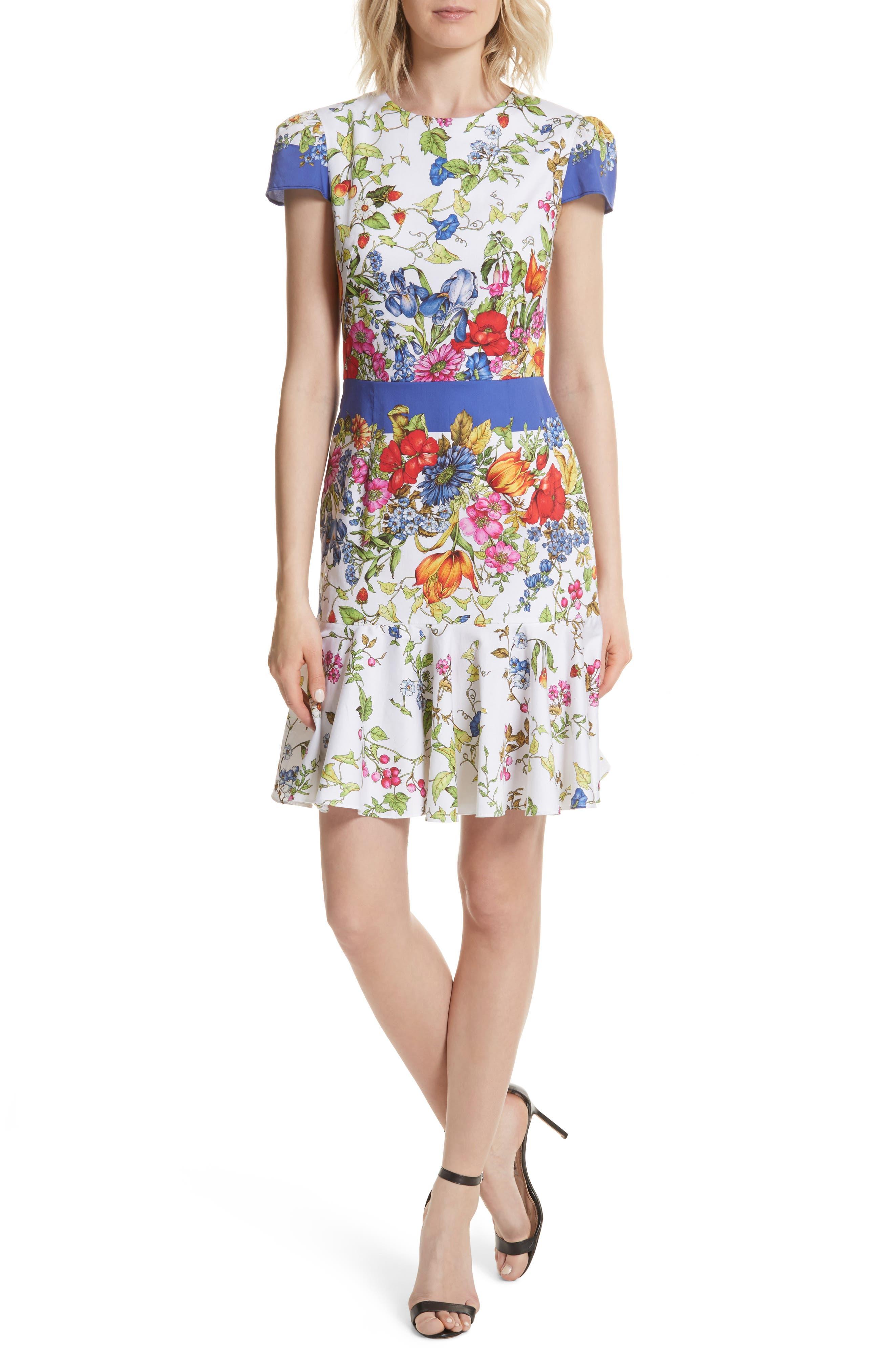 Karissa Floral Stretch Cotton Dress,                             Main thumbnail 1, color,                             164