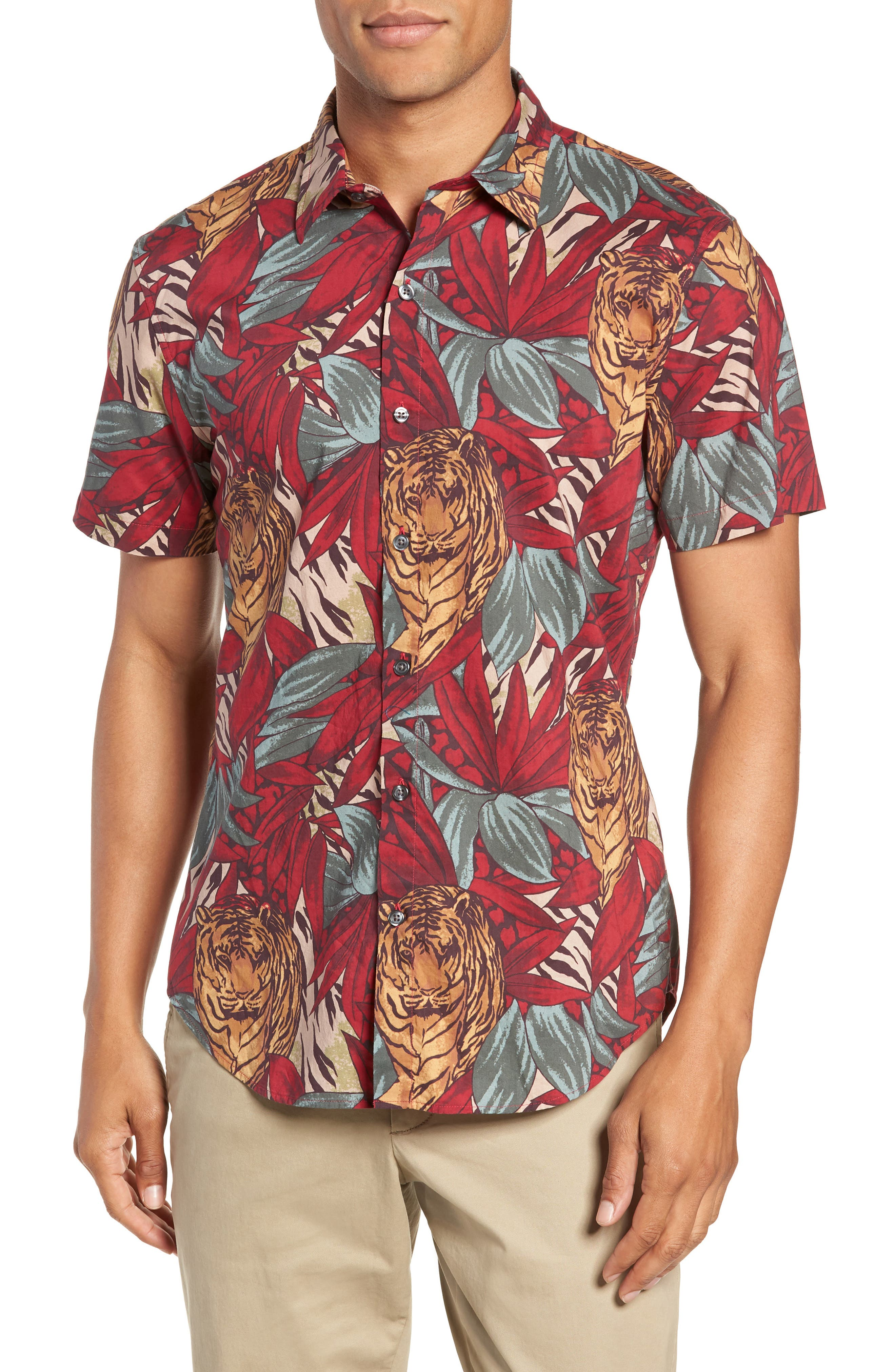 BONOBOS Riviera Slim Fit Tiger Frond Sport Shirt, Main, color, 600