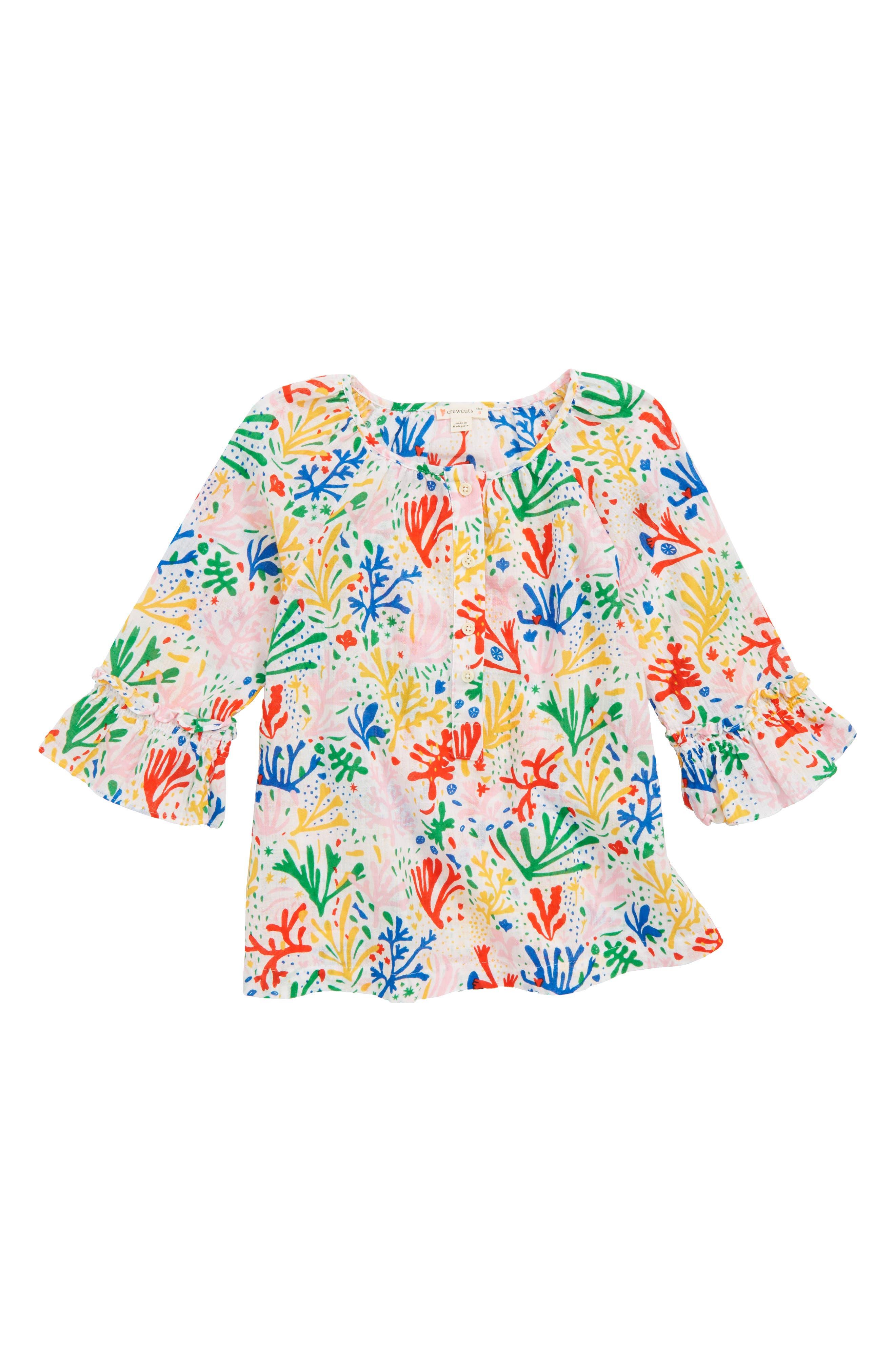 Coral Print Tunic,                             Main thumbnail 1, color,                             WHITE MULTI