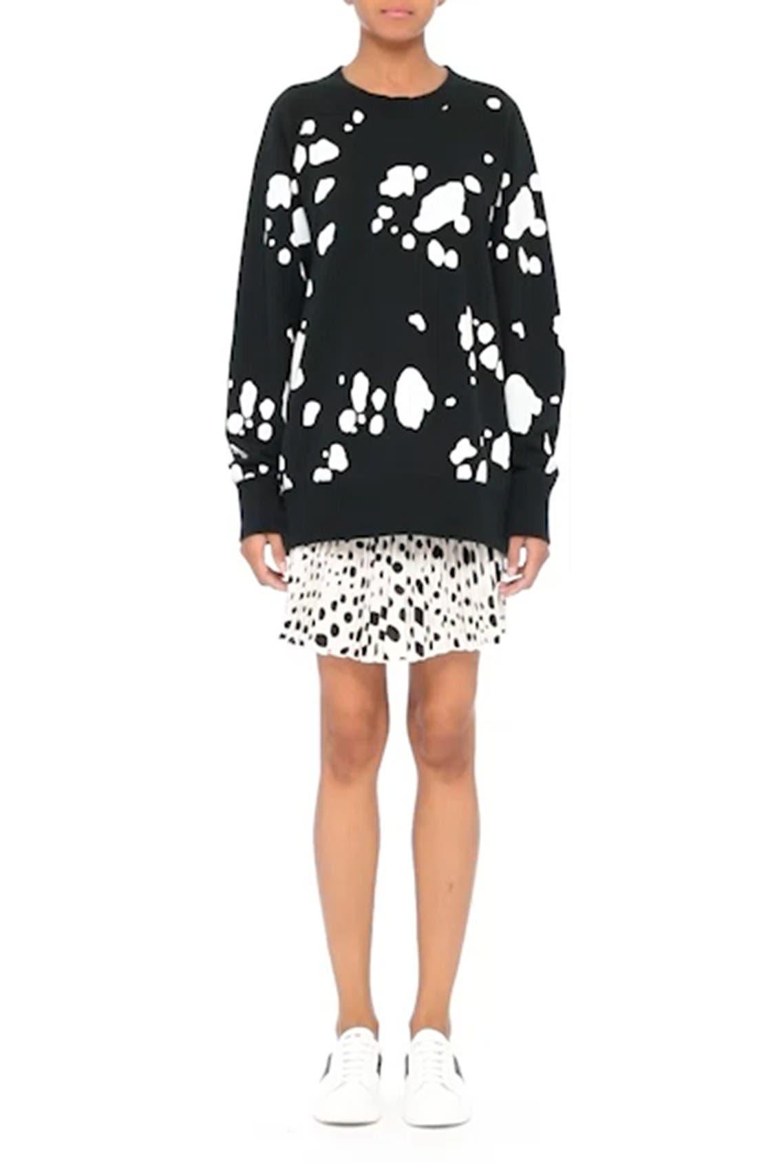 Pleated Polka Dot Silk Skirt,                             Alternate thumbnail 8, color,                             160