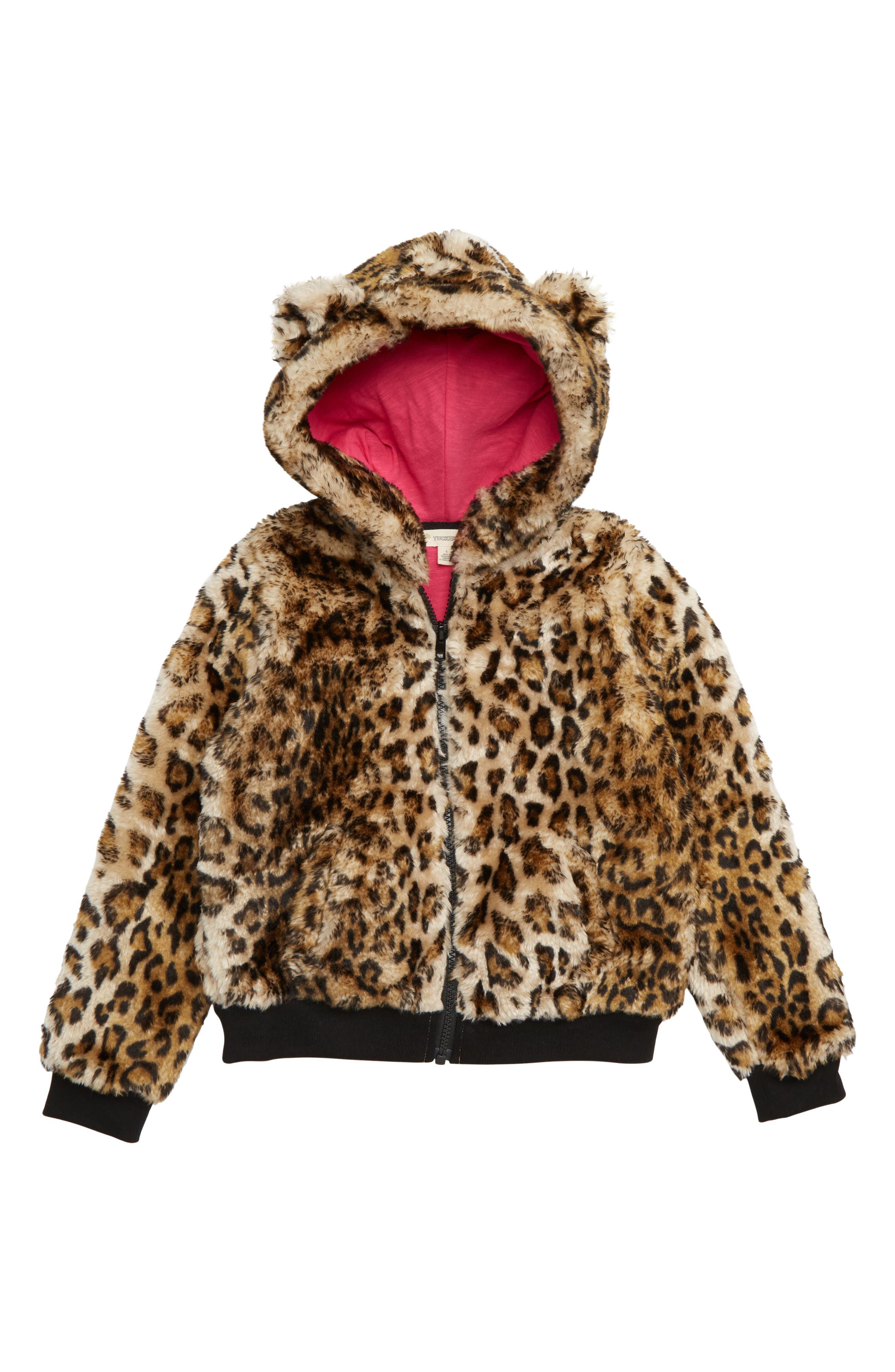 Hooded Faux Fur Bomber Jacket,                         Main,                         color, TAN DALE LEOPARD