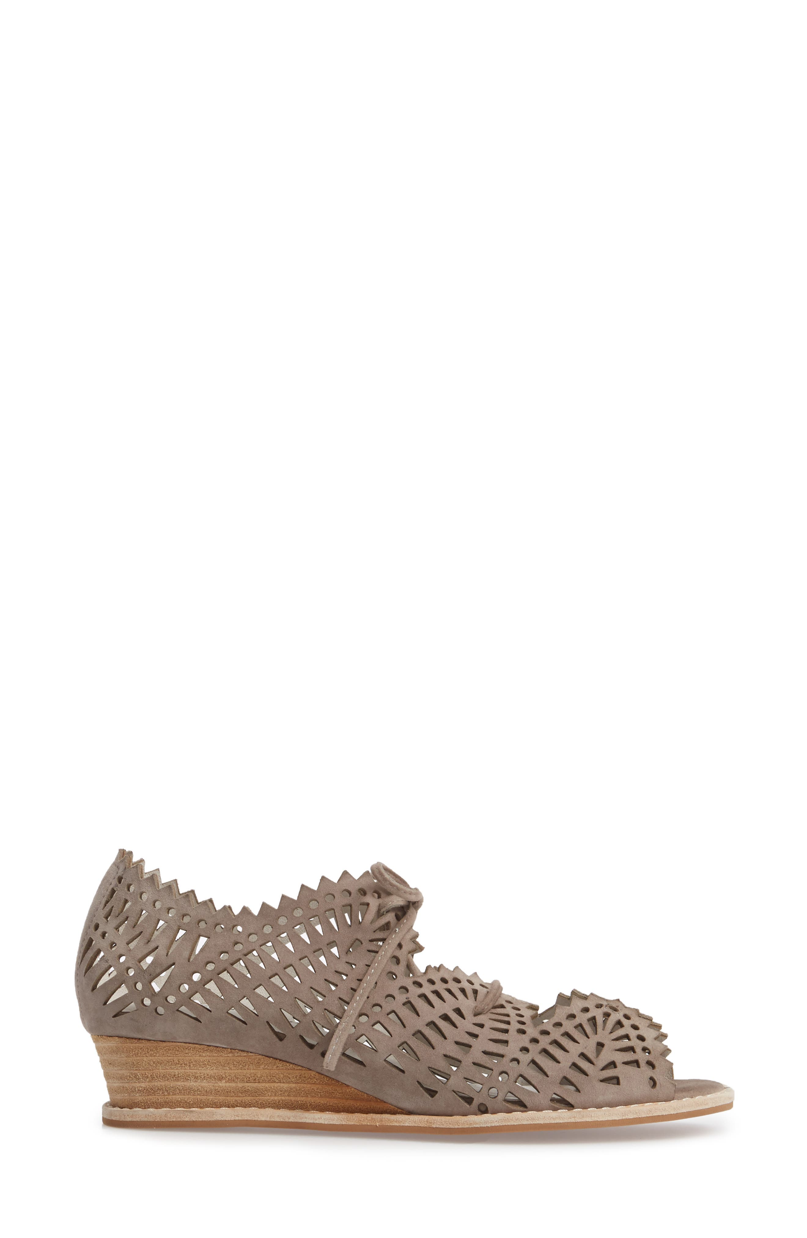 Espejo Lace-Up Wedge,                             Alternate thumbnail 3, color,                             TAUPE SUEDE