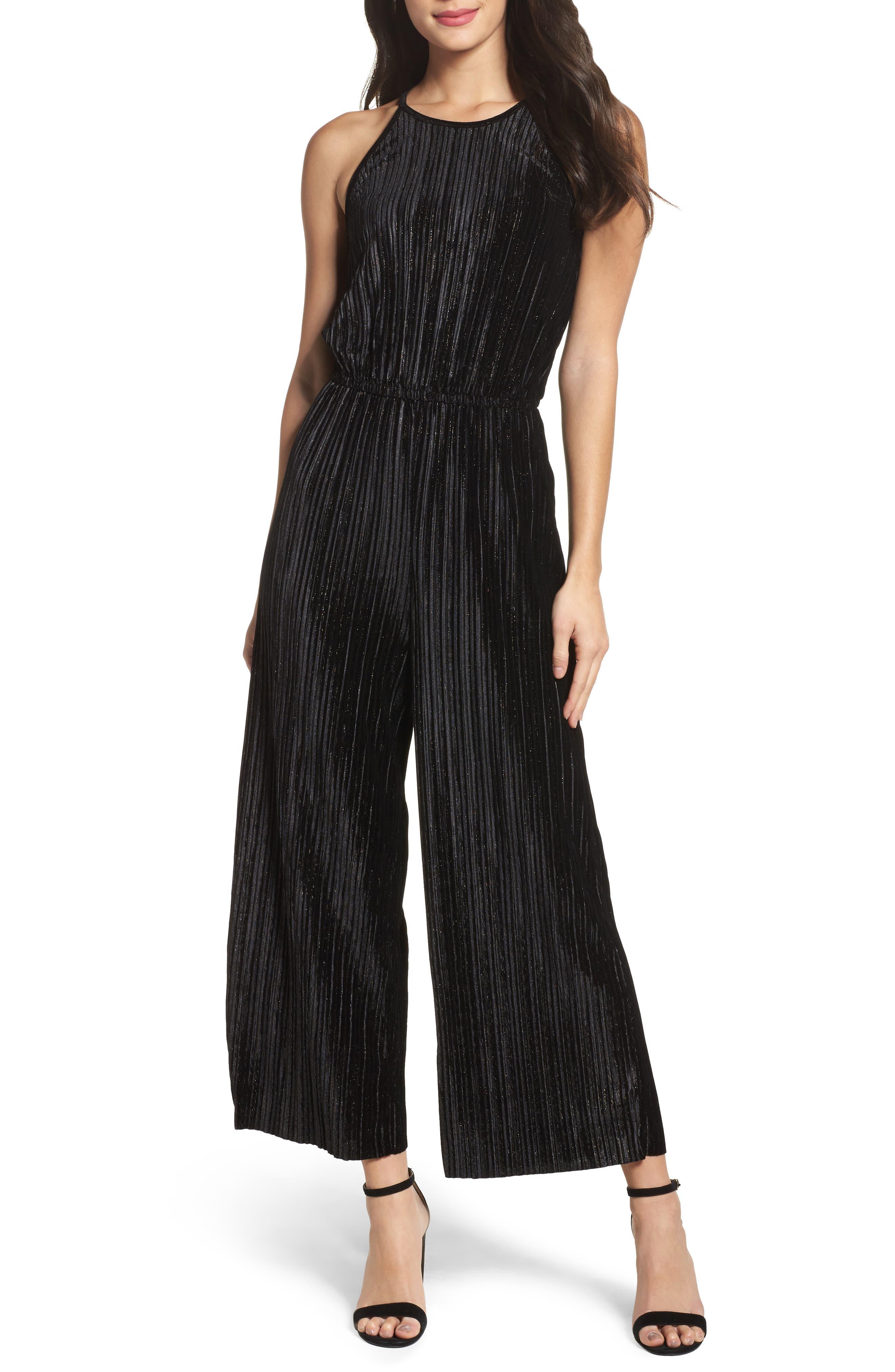 Pleated Velvet Jumpsuit,                         Main,                         color, 001