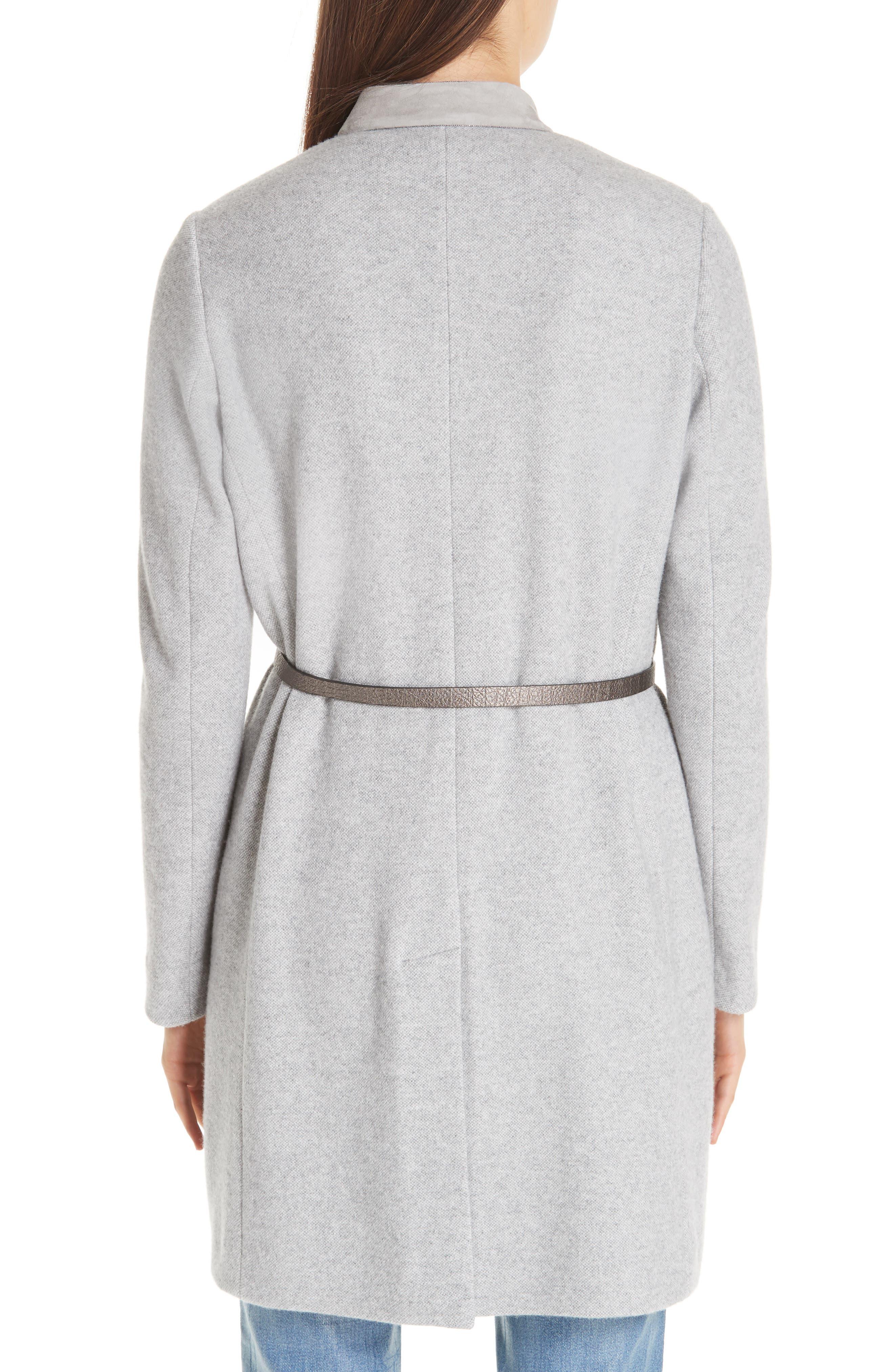 FABIANA FILIPPI,                             Suede Trim Tweed Jacket,                             Alternate thumbnail 2, color,                             GREY