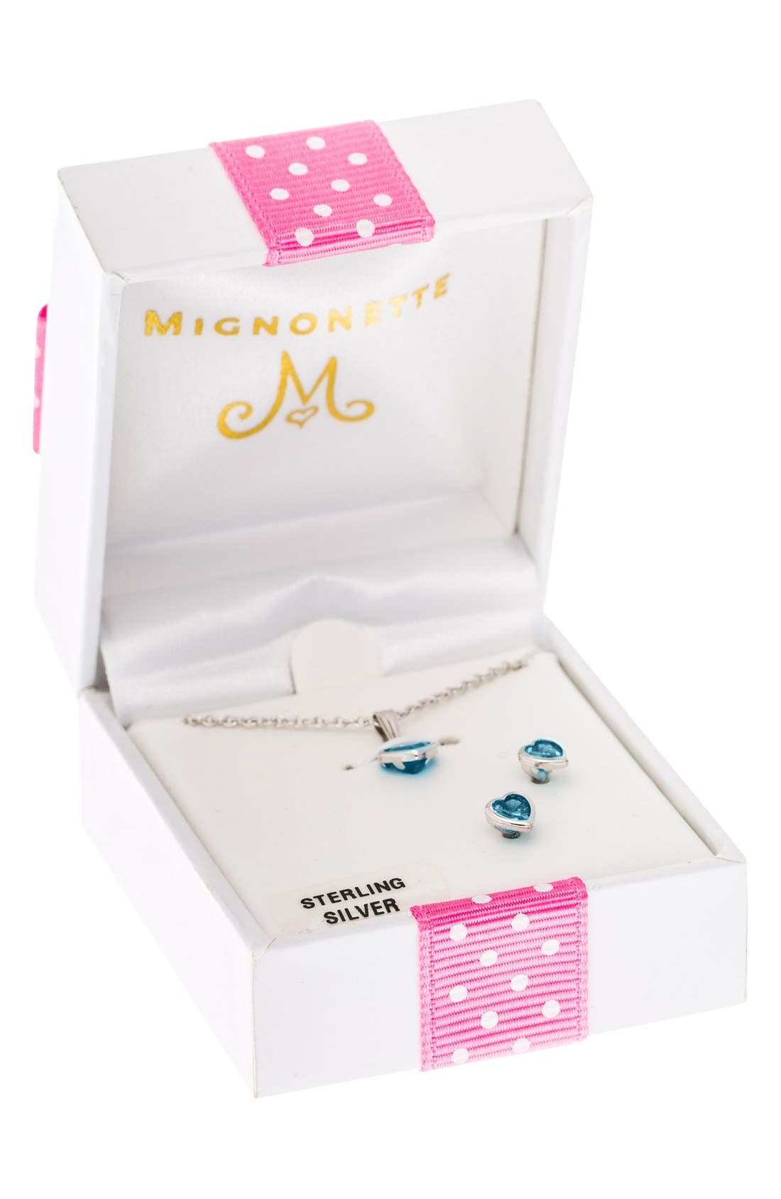 Sterling Silver & Cubic Zirconia Birthstone Necklace & Earrings Set,                             Alternate thumbnail 3, color,                             MARCH