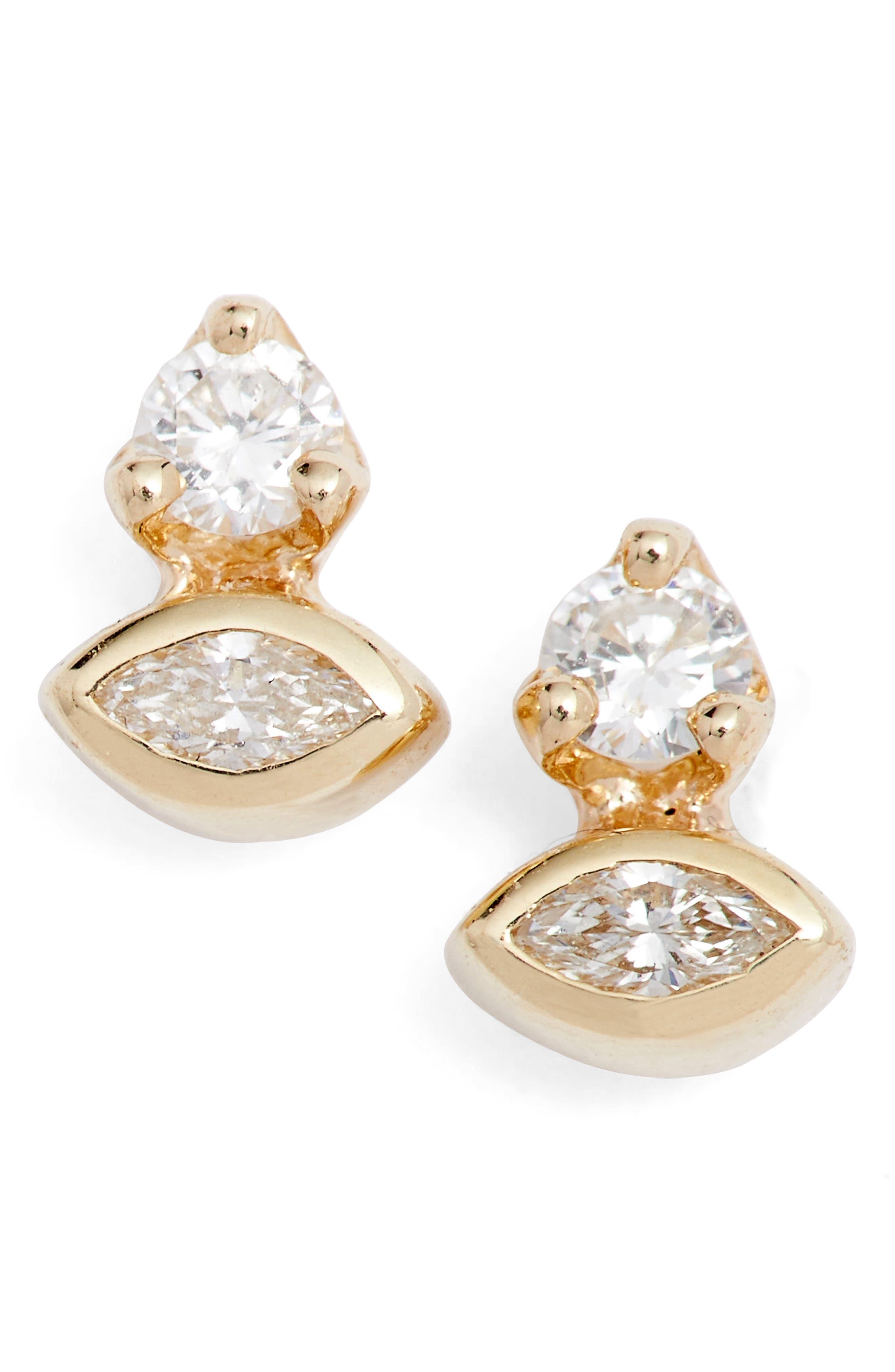 Diamond Cluster Stud Earrings,                             Main thumbnail 1, color,                             YELLOW GOLD