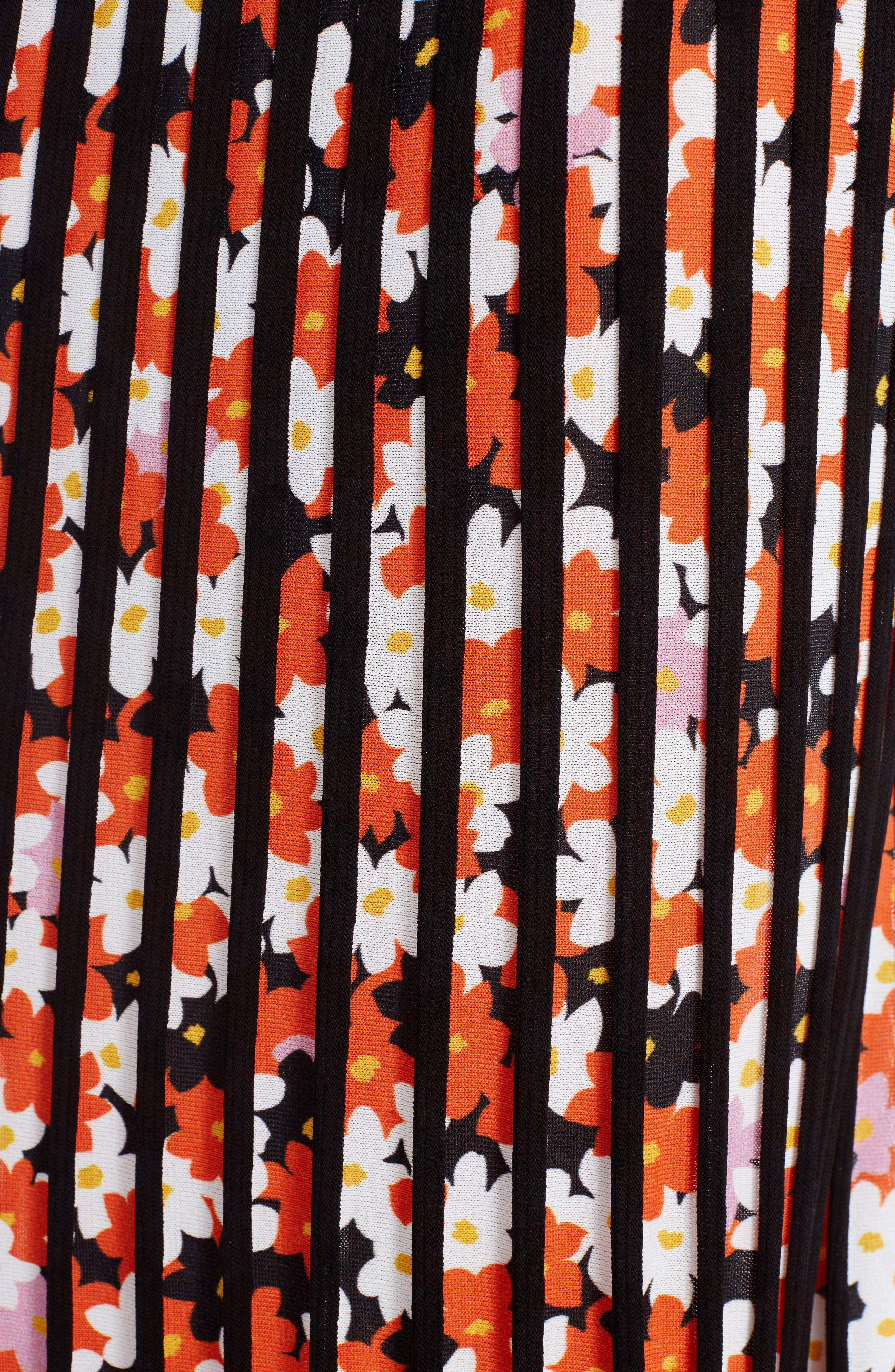 Knit Pleated Midi Skirt,                             Alternate thumbnail 5, color,                             001