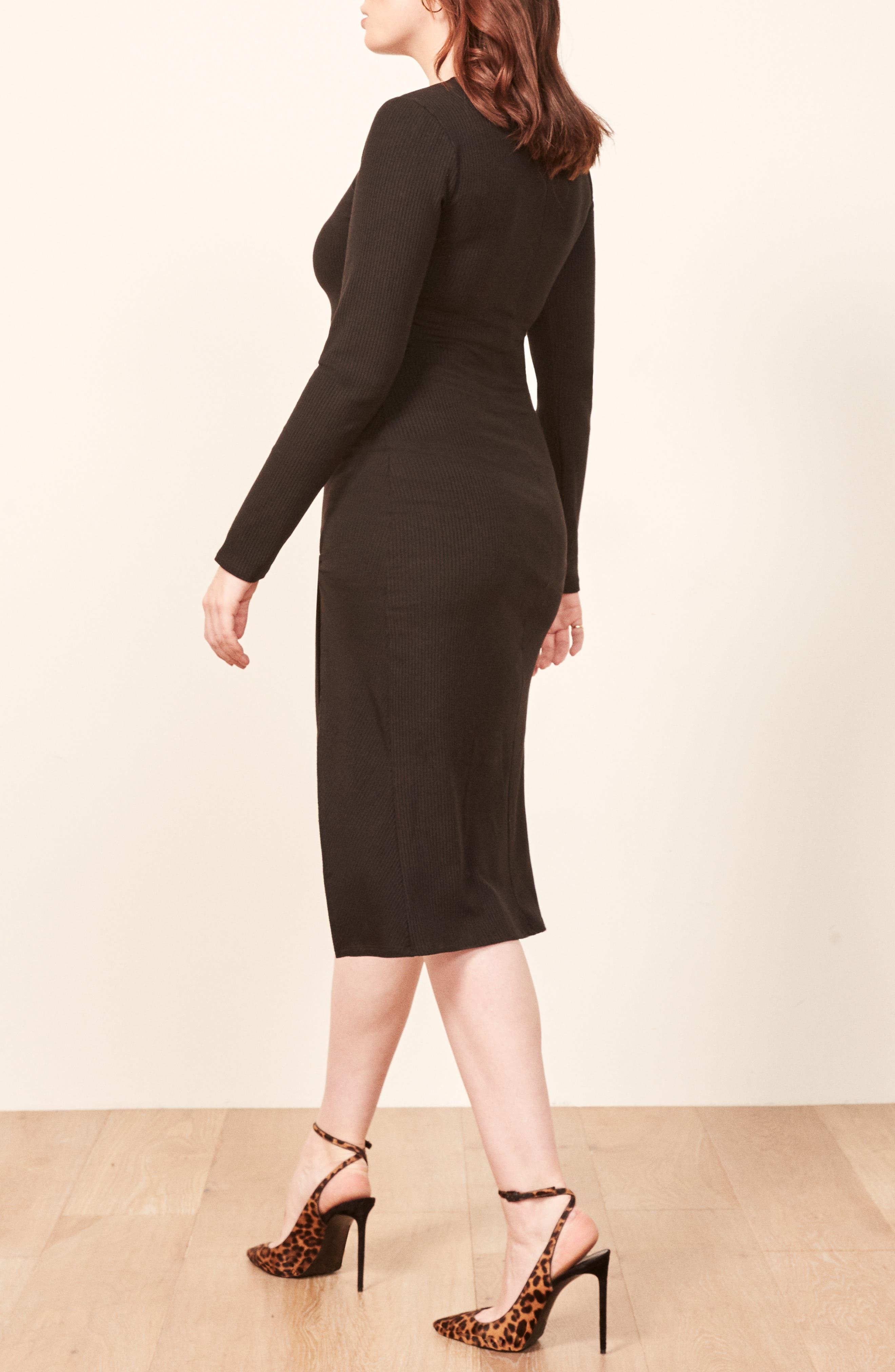 Piazza Ribbed Dress,                             Alternate thumbnail 3, color,                             BLACK
